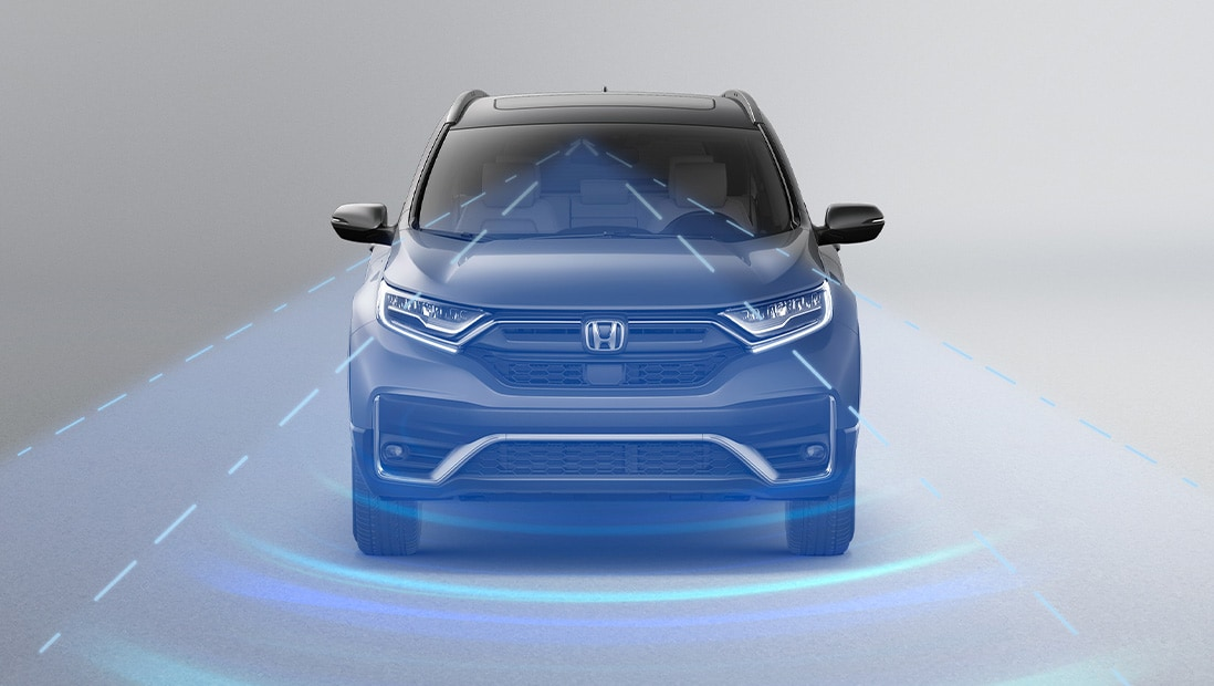Front view of 2020 Honda CR-V Touring in Modern Steel Metallic demonstrating Honda Sensing® features.