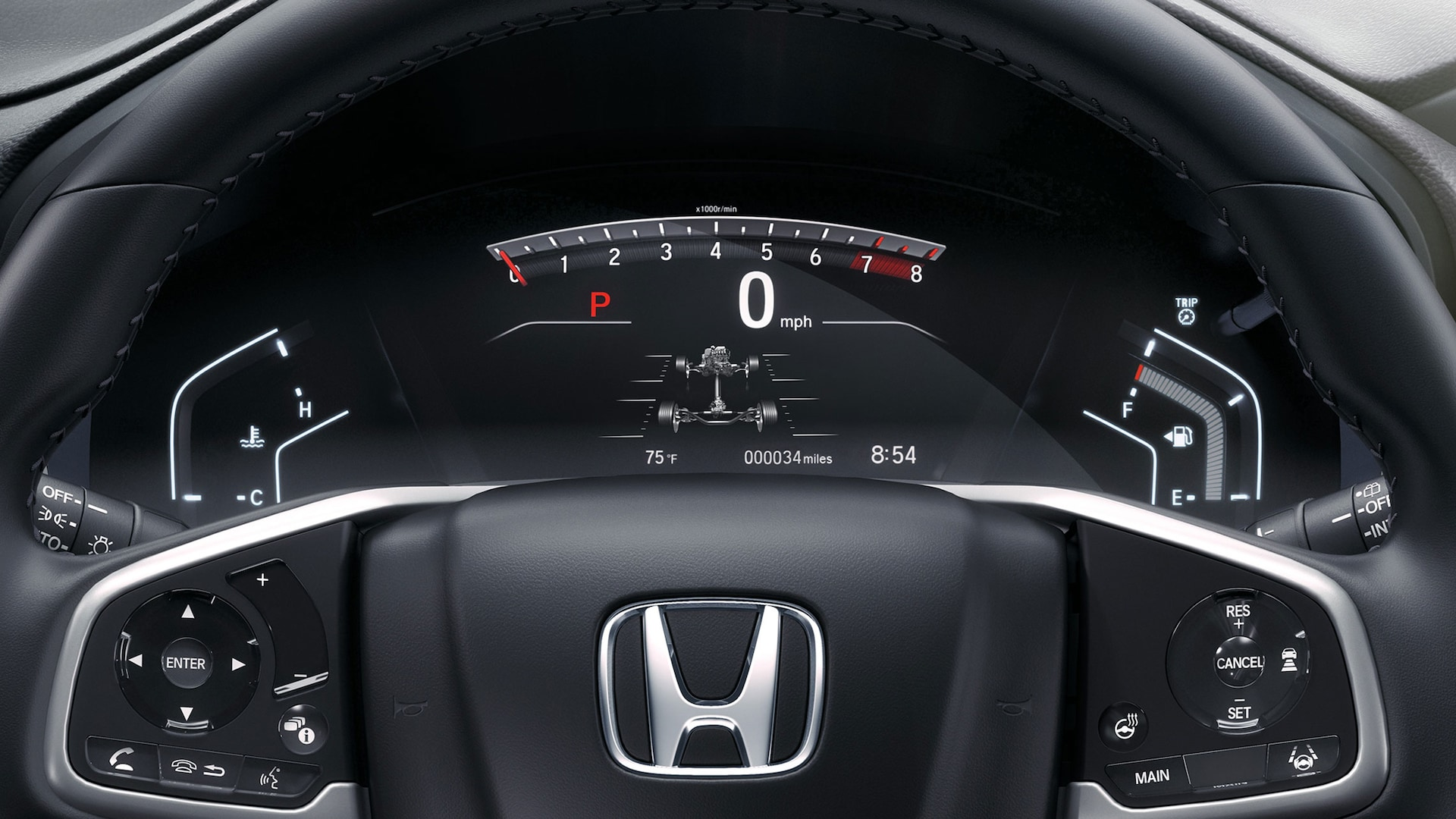 Instrument panel detail in the 2020 Honda CR-V Touring.