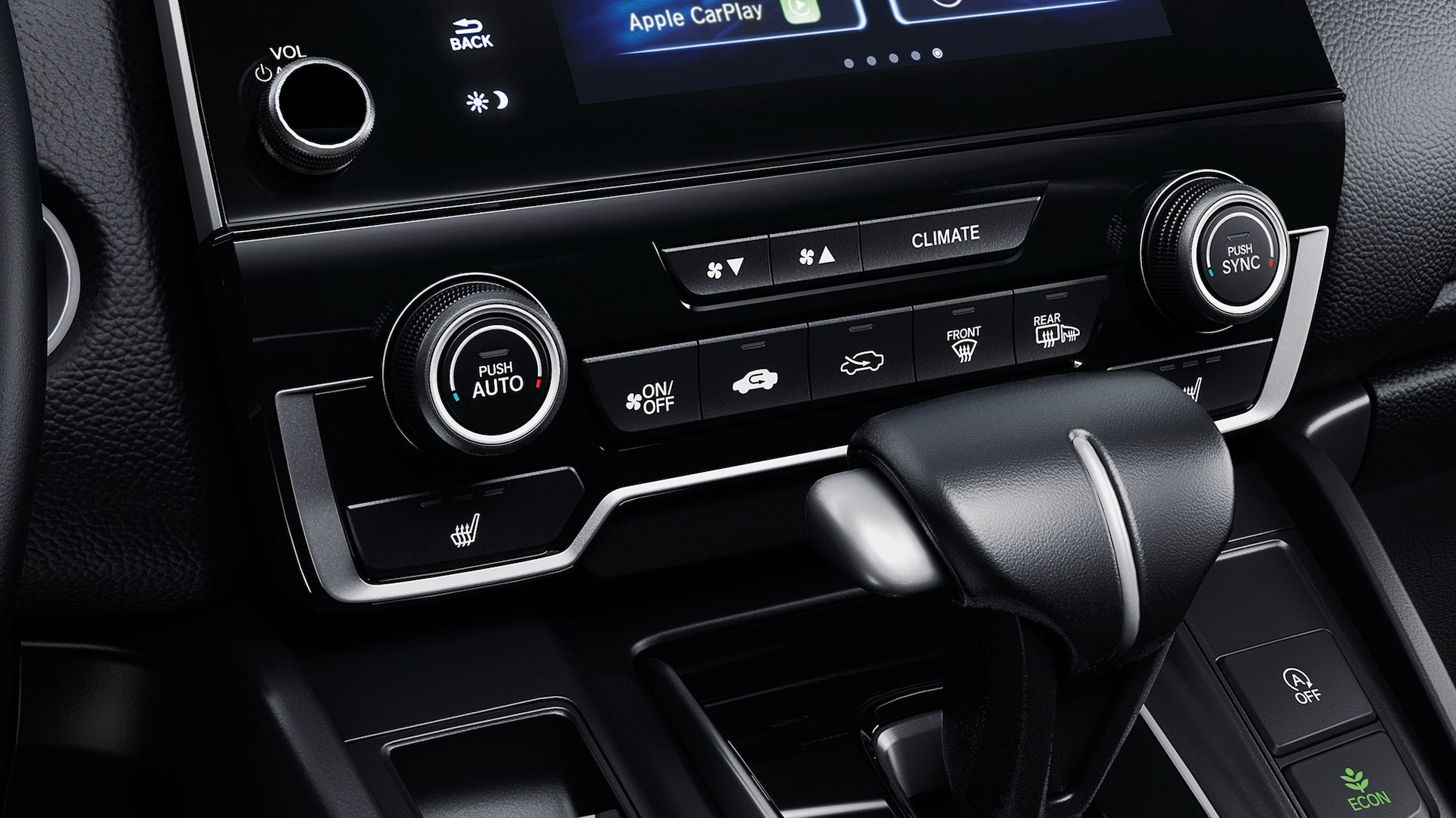 Dual-zone automatic climate control detail in the 2020 Honda CR-V.