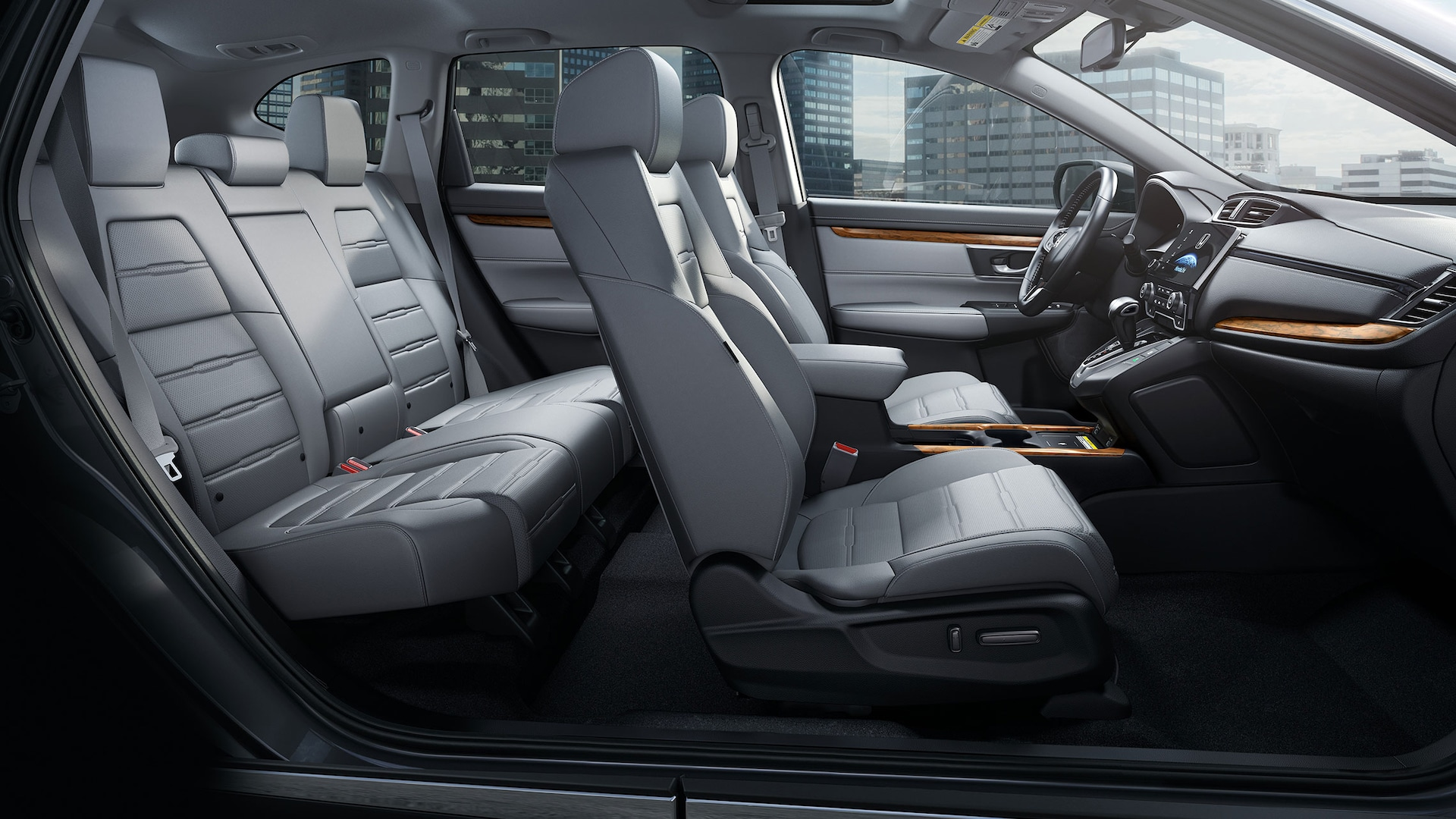 Interior passenger-side view of 2020 Honda CR-V with Gray Leather interior.