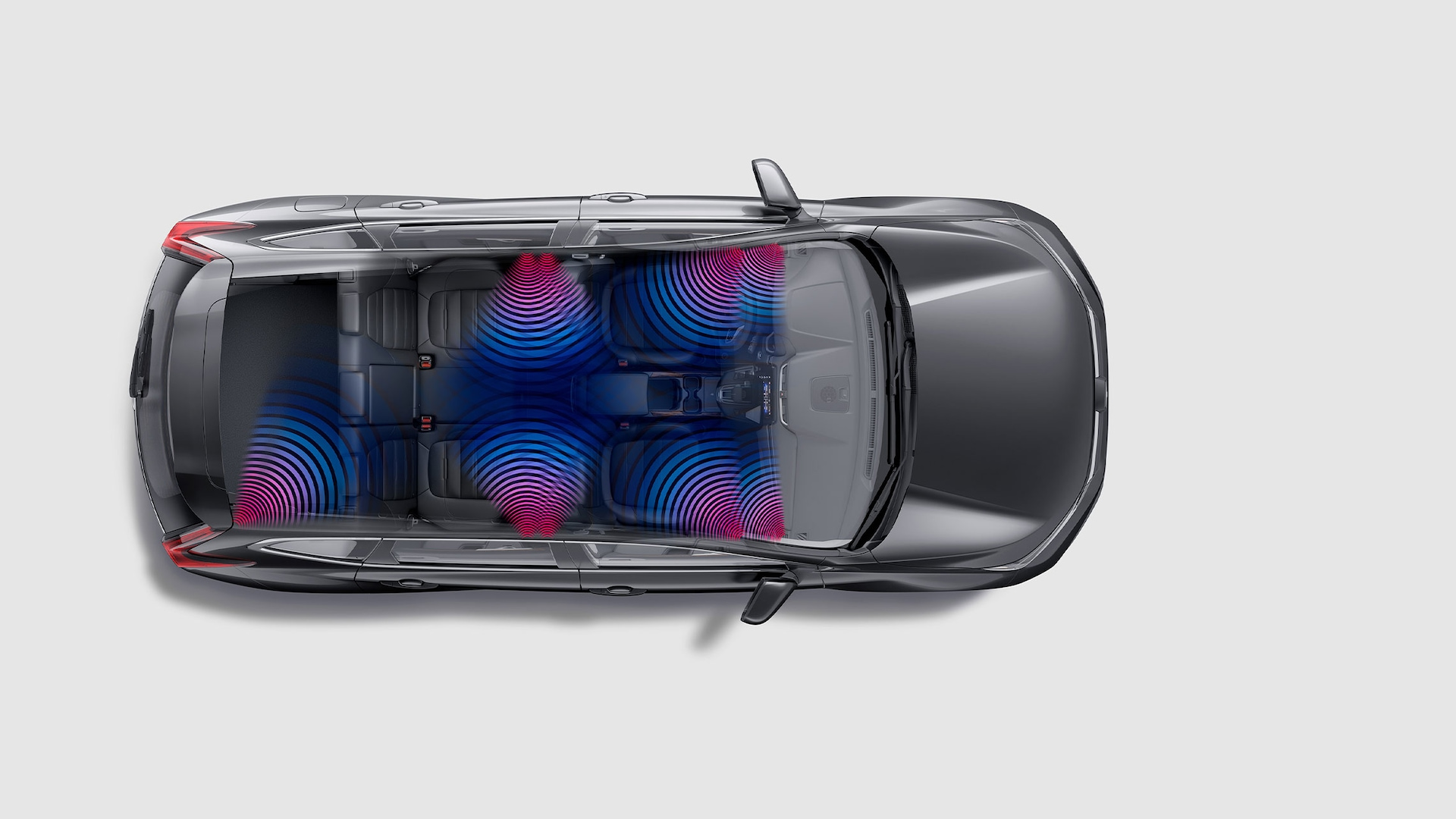 Overhead cutaway view of the 2020 Honda CR-V with illustration showing speaker locations.