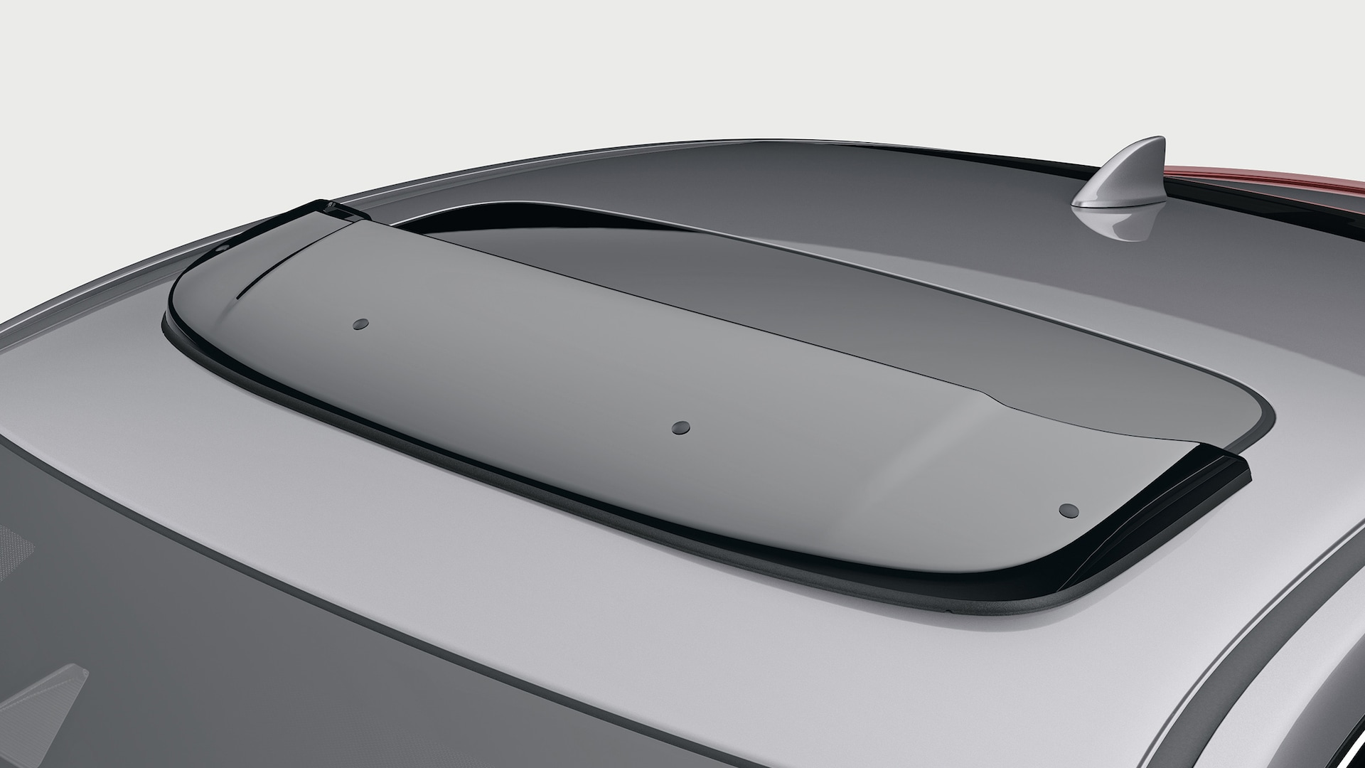 Accessory moonroof visor detail on the 2020 Honda Civic Coupe in Modern Steel Metallic.