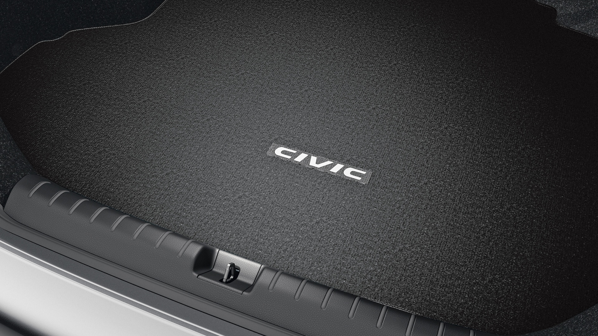 Accessory carpet trunk mat detail in the 2020 Honda Civic Sport Coupe.