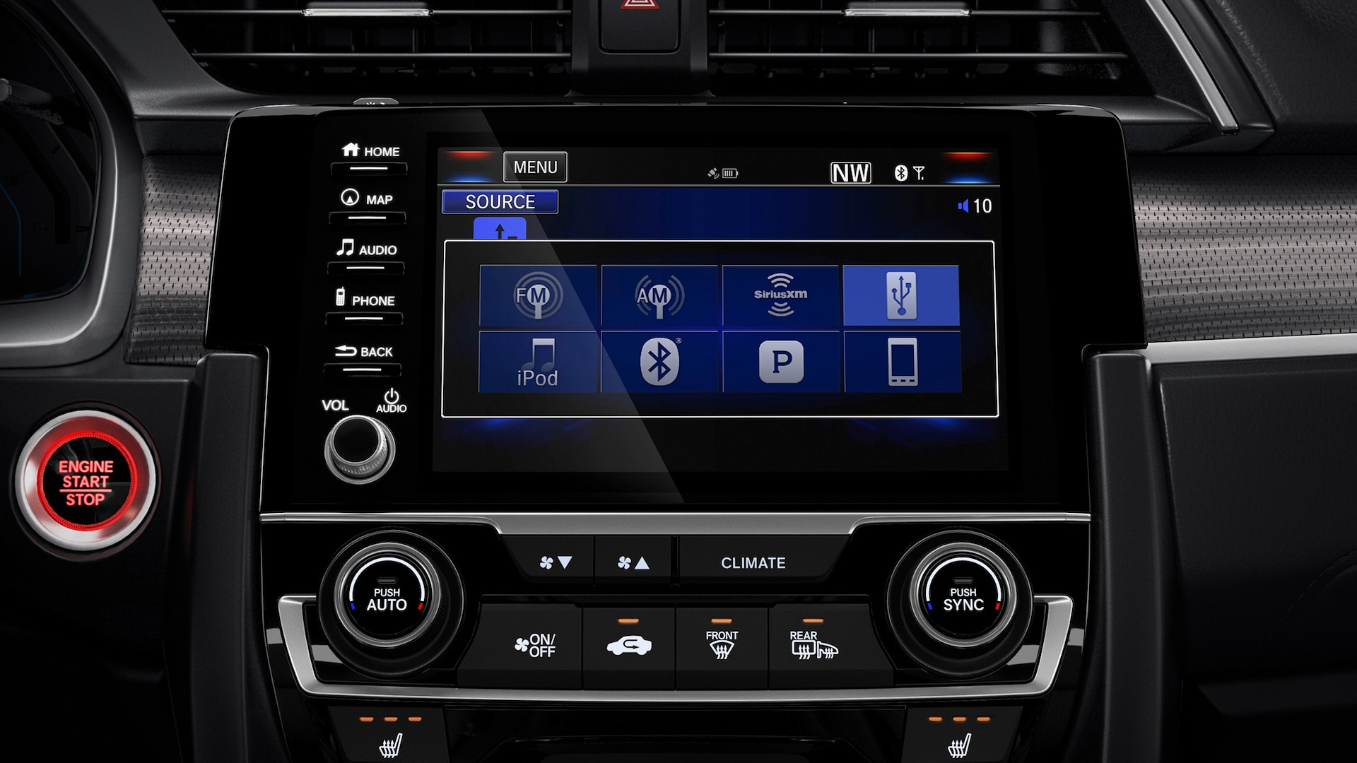 7-inch Display Audio touch-screen detail in the 2020 Honda Civic Coupe.