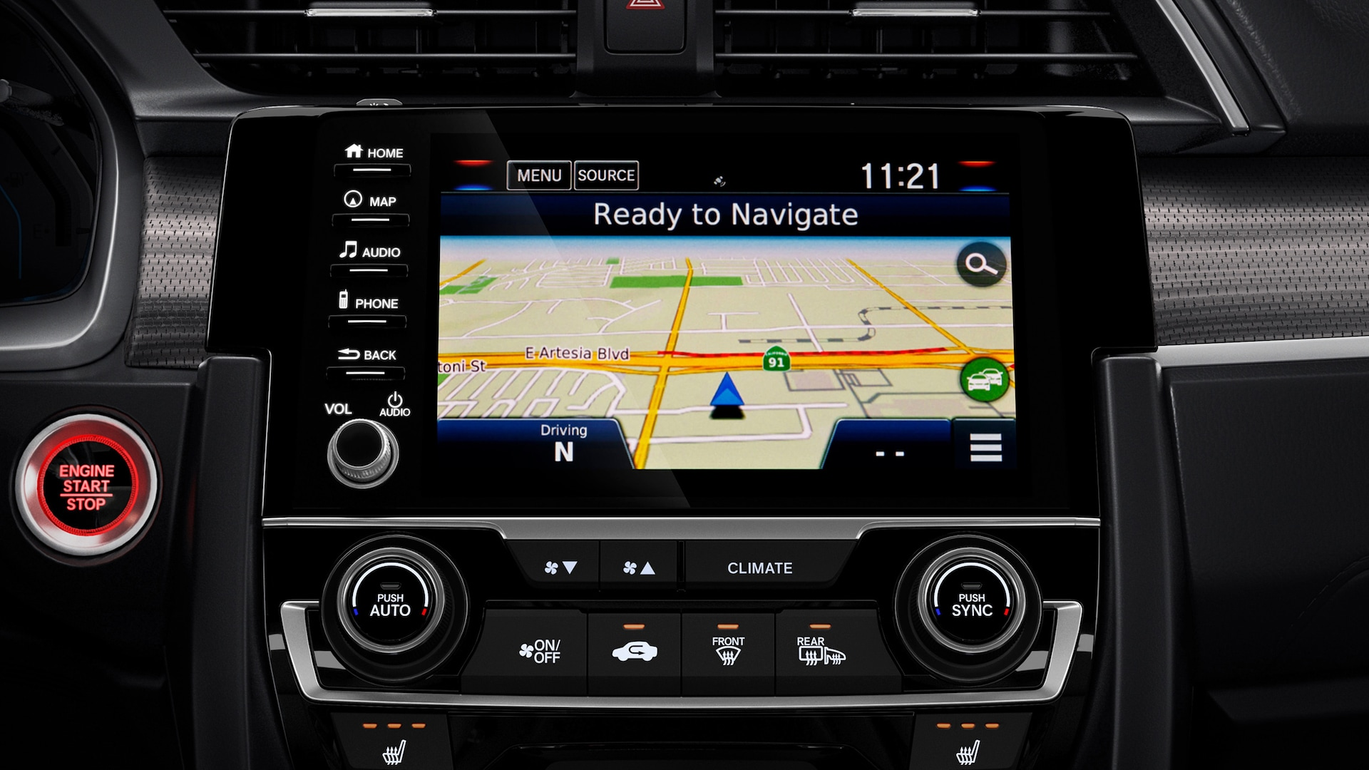 Detalle de Honda Satellite-Linked Navigation System™ en el Honda Civic Coupé 2020.