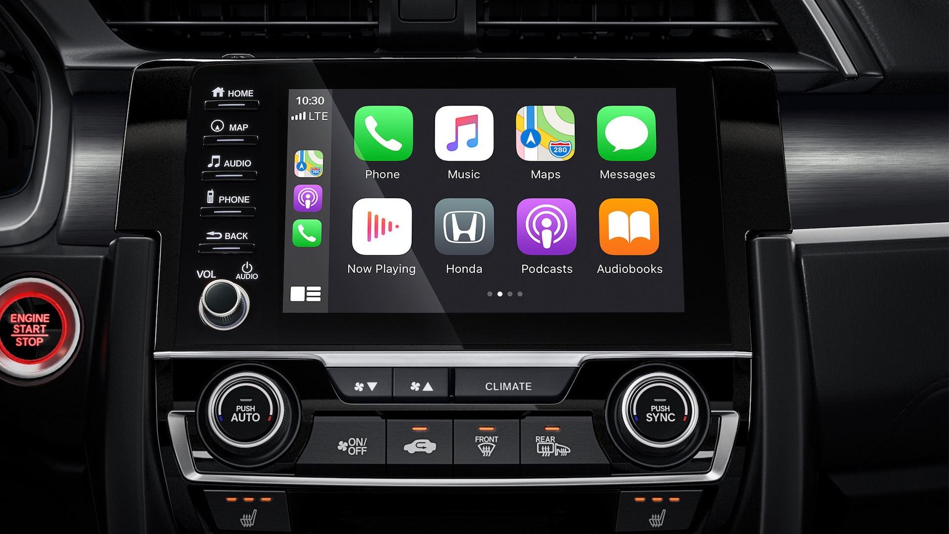 Detalle de la integración con Apple CarPlay® en el sistema de audio en pantalla táctil del Honda Civic Coupé 2020.