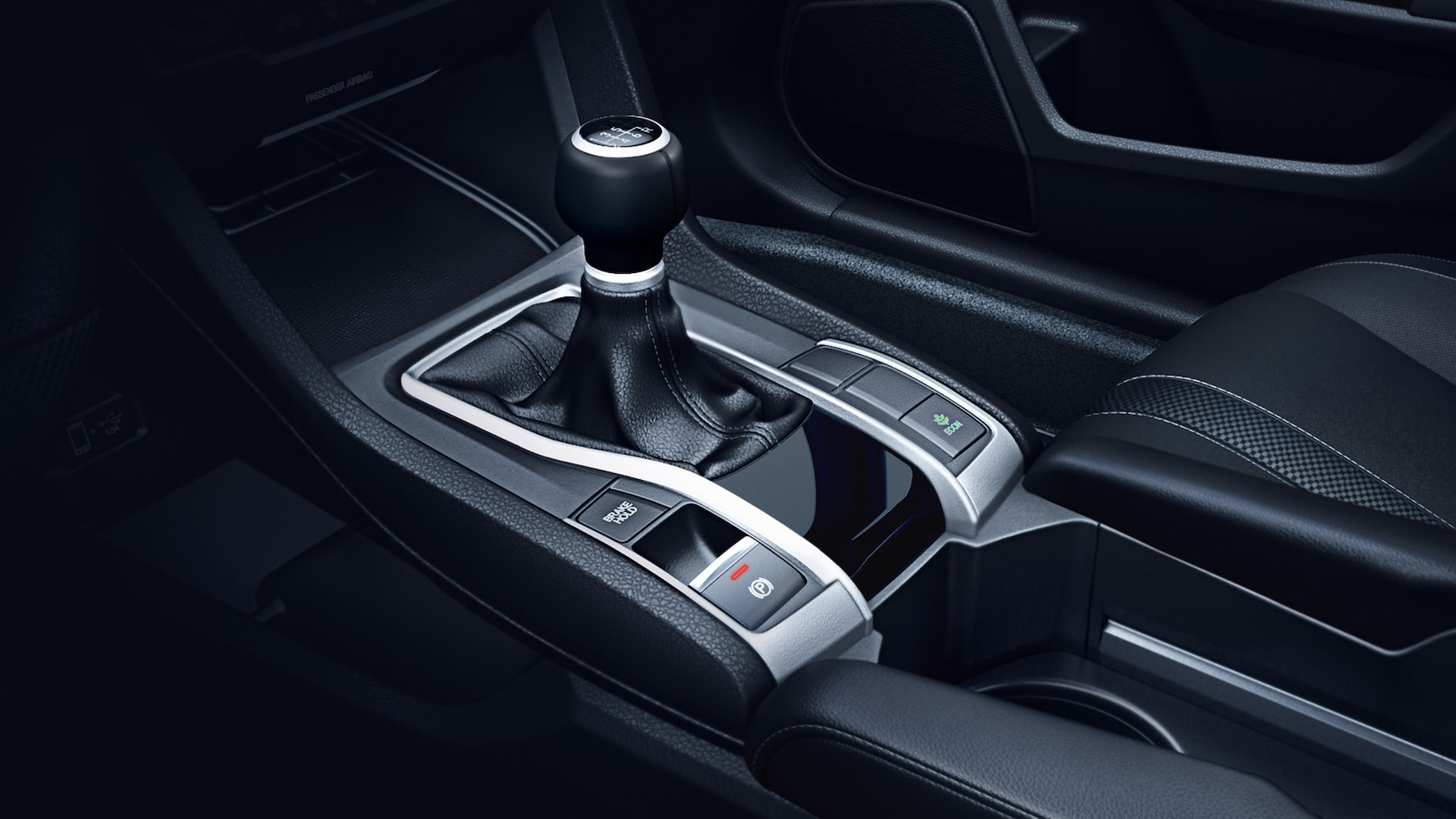 6-speed manual transmission shifter detail in the 2020 Honda Civic Sport Coupe.