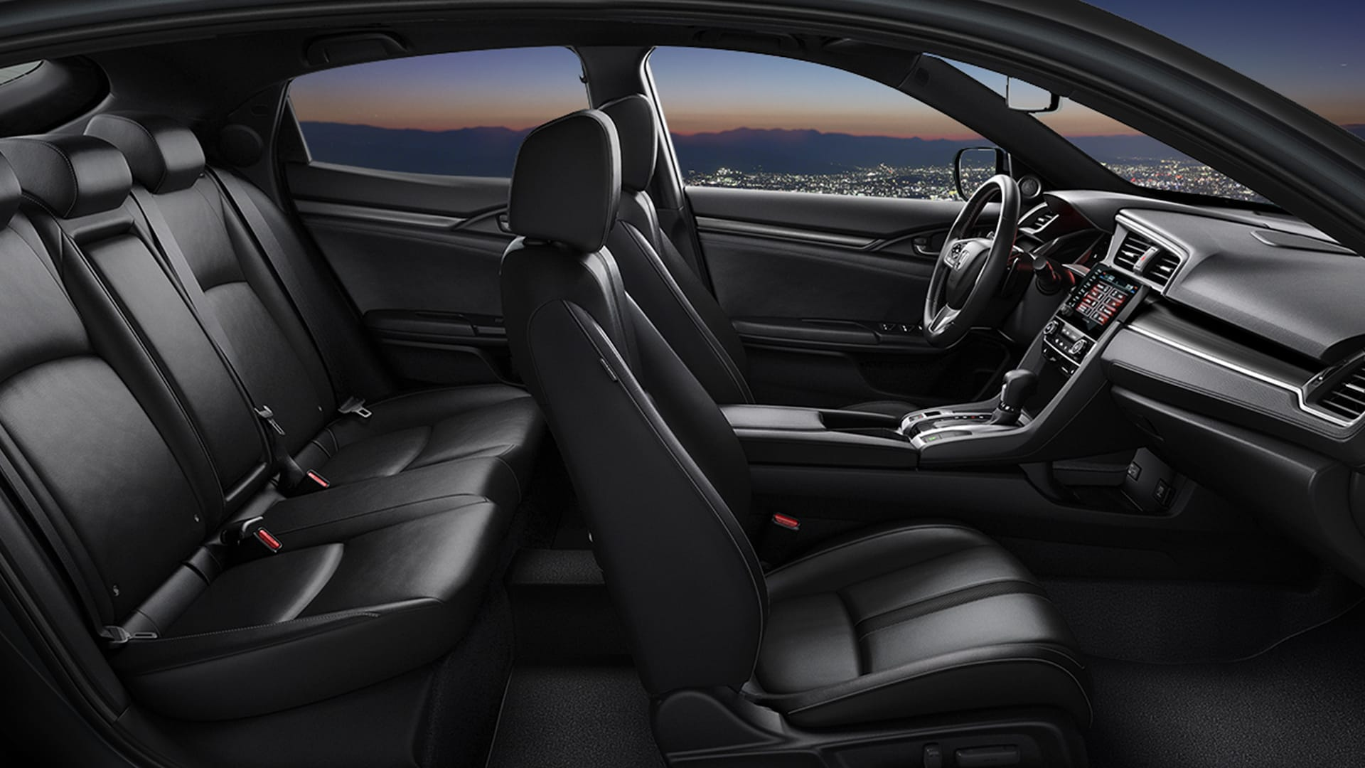 Passenger-side interior profile view of the 2021 Honda Civic Sport Touring Hatchback with Black Leather.