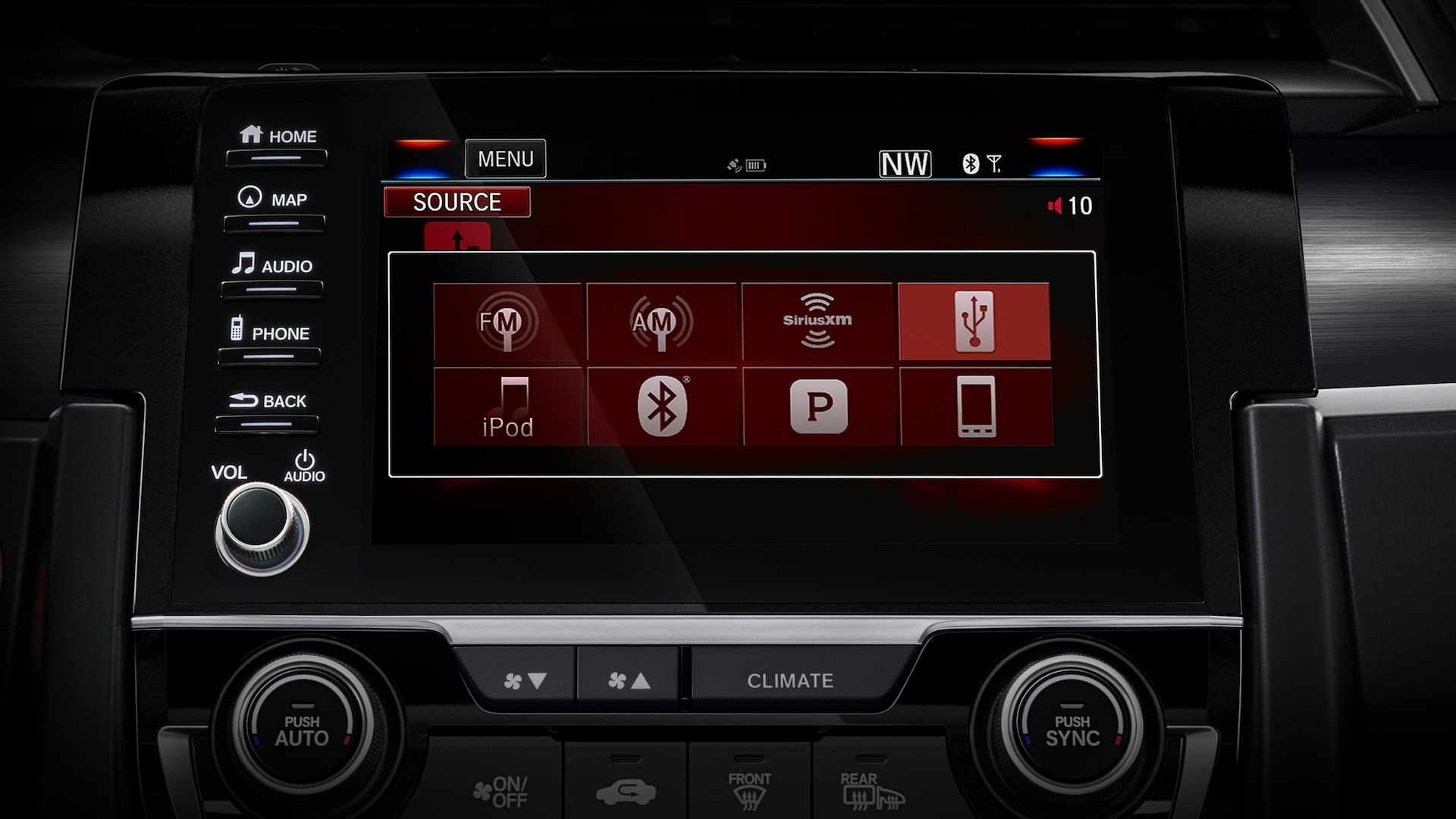 Display Audio touch-screen detail in 2020 Honda Civic Sport Touring Hatchback.