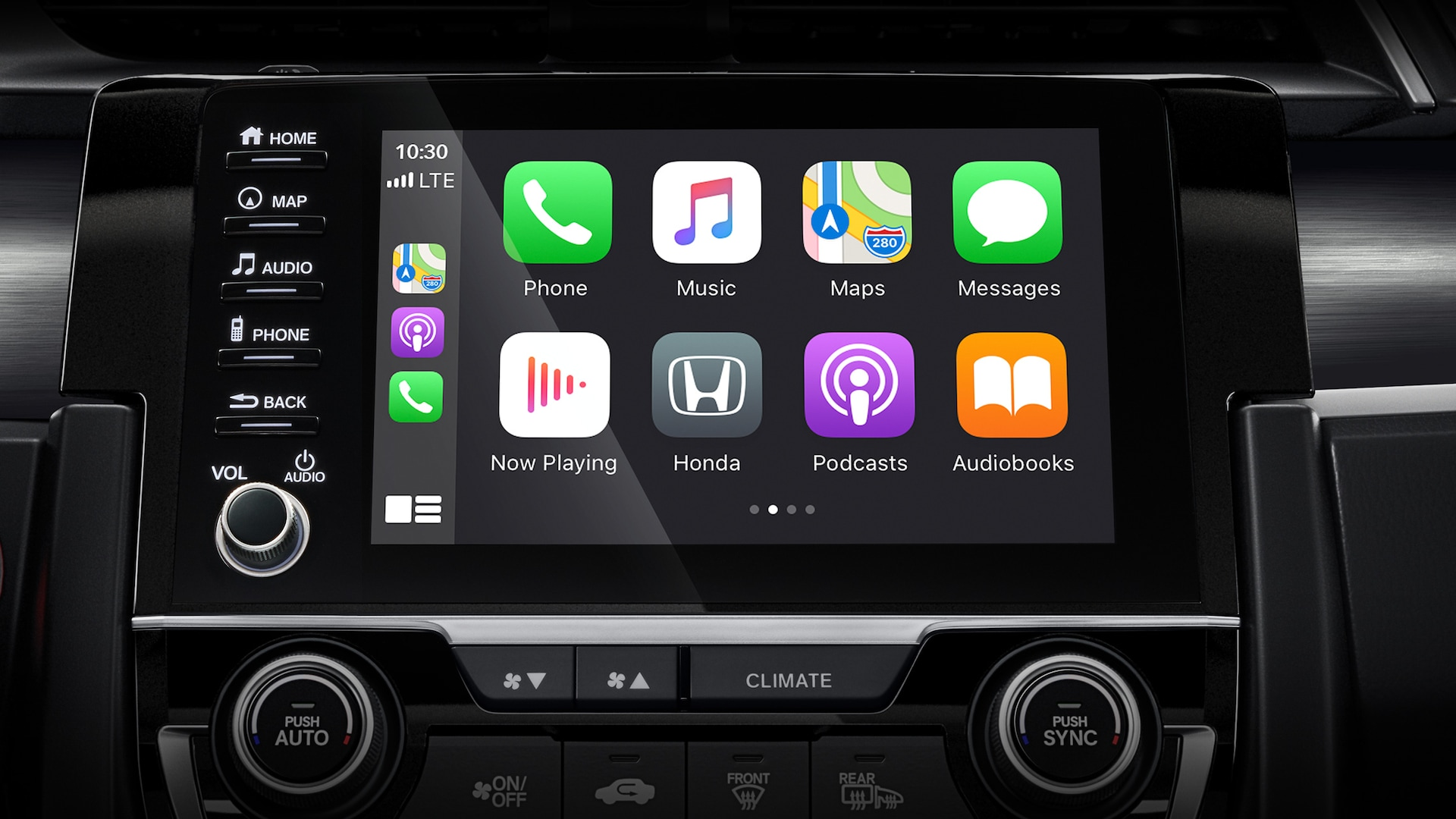 Apple CarPlay® screen detail on Display-Audio touch-screen in 2020 Honda Civic Sport Touring Hatchback.