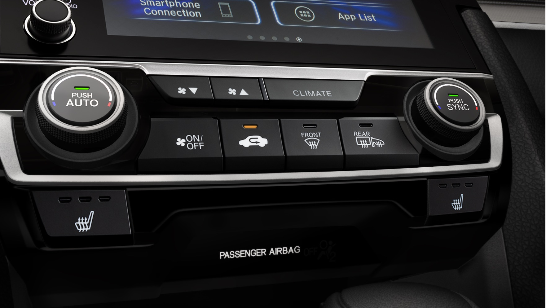 Dual-Zone Automatic Climate Control button detail in the 2020 Honda Civic Touring Sedan with Black Leather.