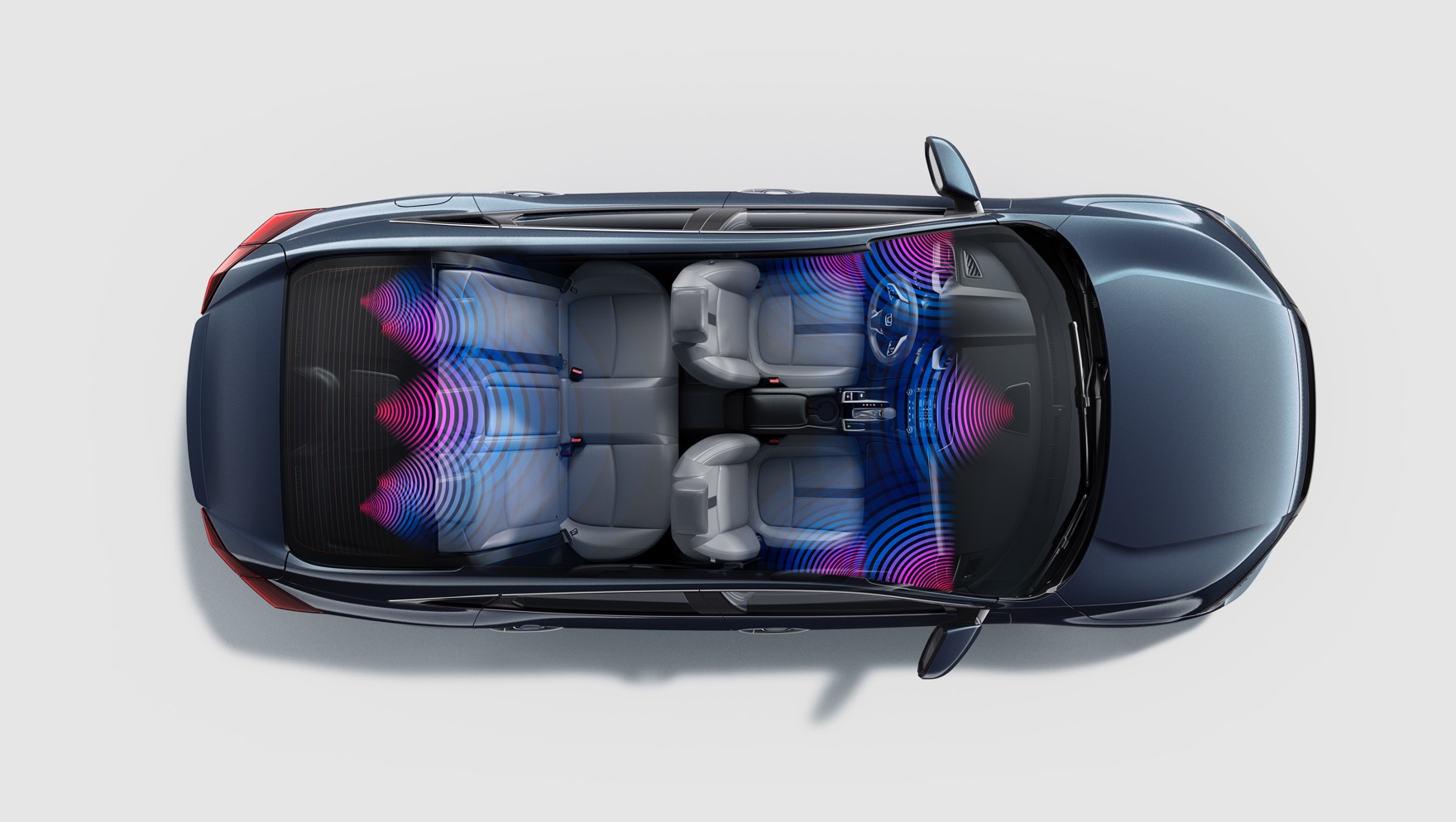 Overhead interior view of 2020 Honda Civic Touring Sedan in Cosmic Blue Metallic with audio graphic overlay.