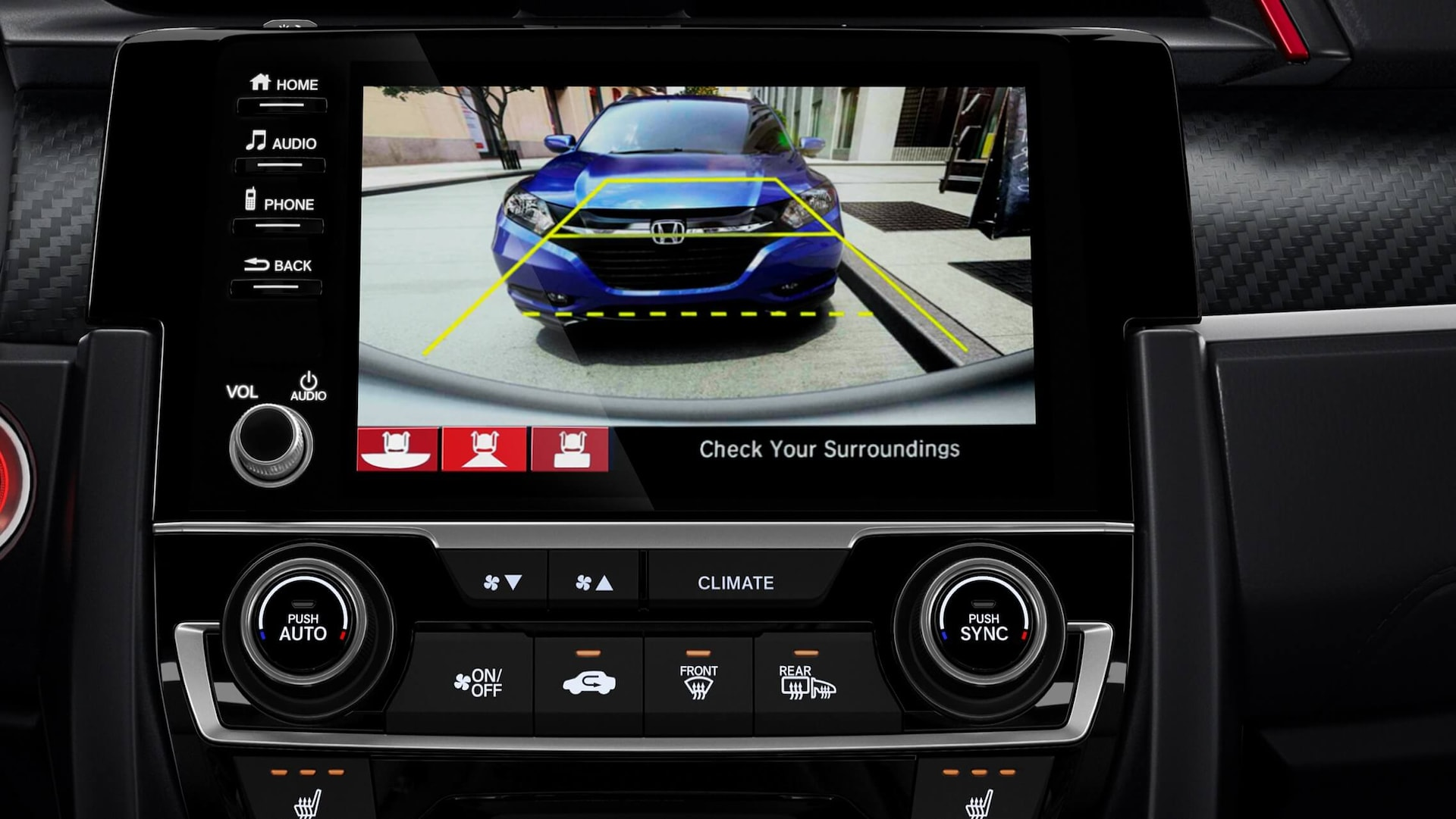 Multi-angle rearview camera detail on 7-inch Display-Audio screen in 2020 Honda Civic Si Coupe.