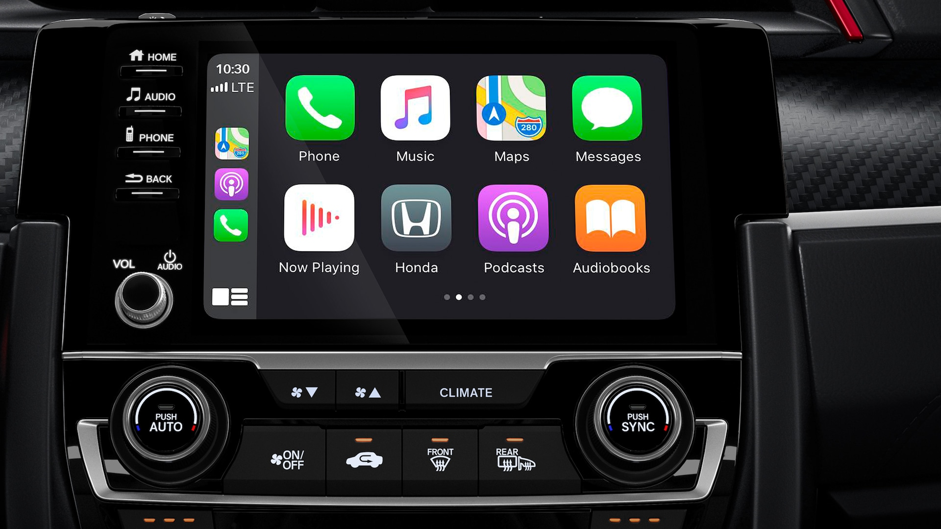 Detalle de Apple CarPlay® en la pantalla táctil de 7 pulgadas del sistema de audio del Honda Civic Si Coupé 2020.