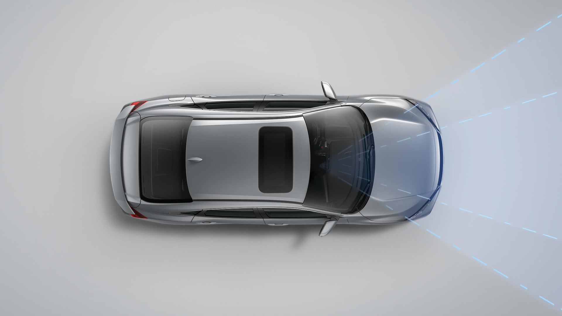 Overhead view of 2020 Honda Civic Si Sedan in Modern Steel Metallic demonstrating Lane Keeping Assist System (LKAS).