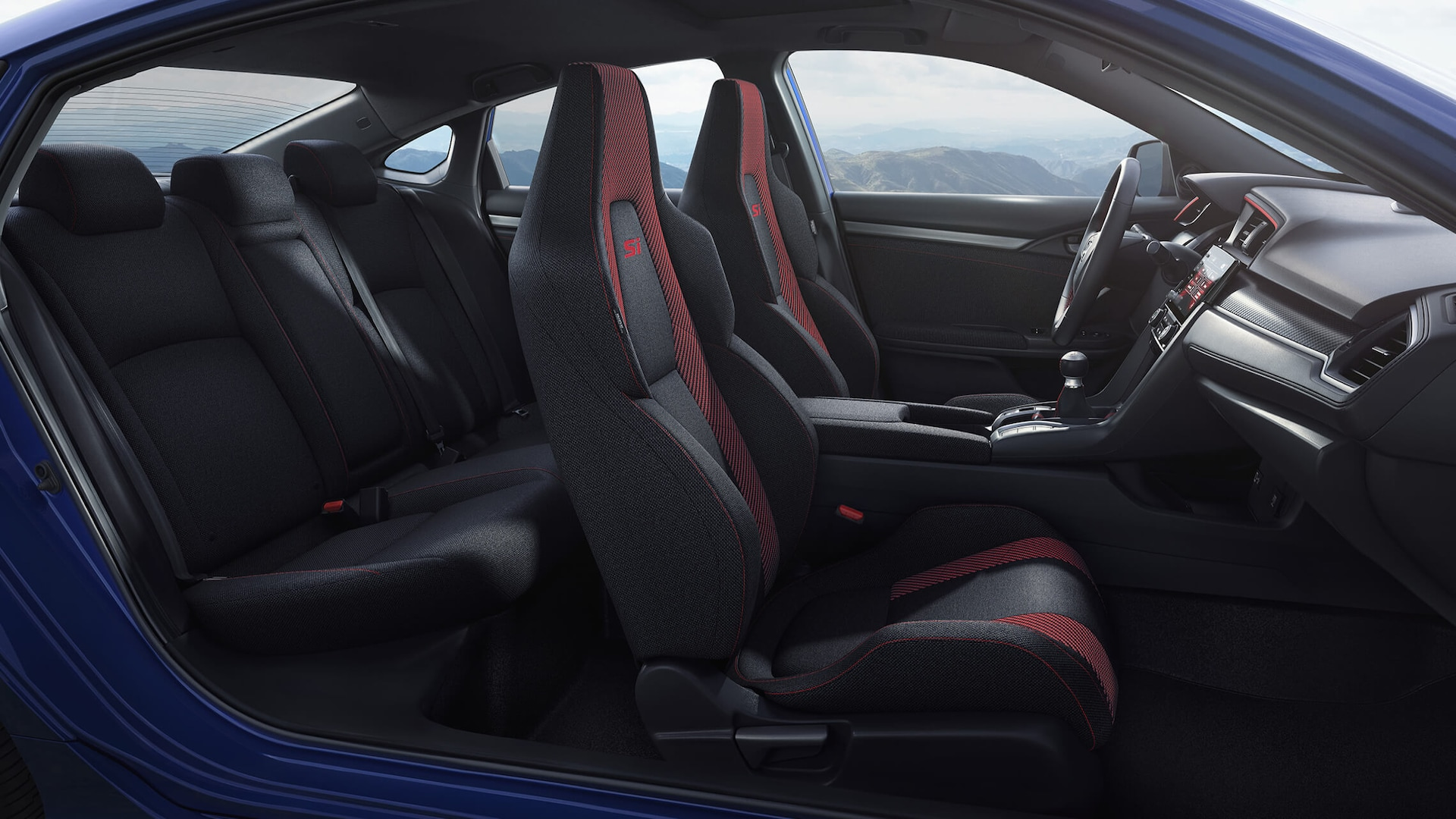 Passenger's side interior view of front seats in 2020 Honda Civic Si Sedan in Black Cloth.