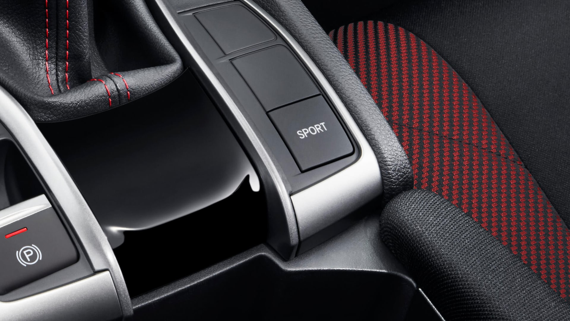 Sport mode button detail on 2020 Honda Civic Si Sedan.