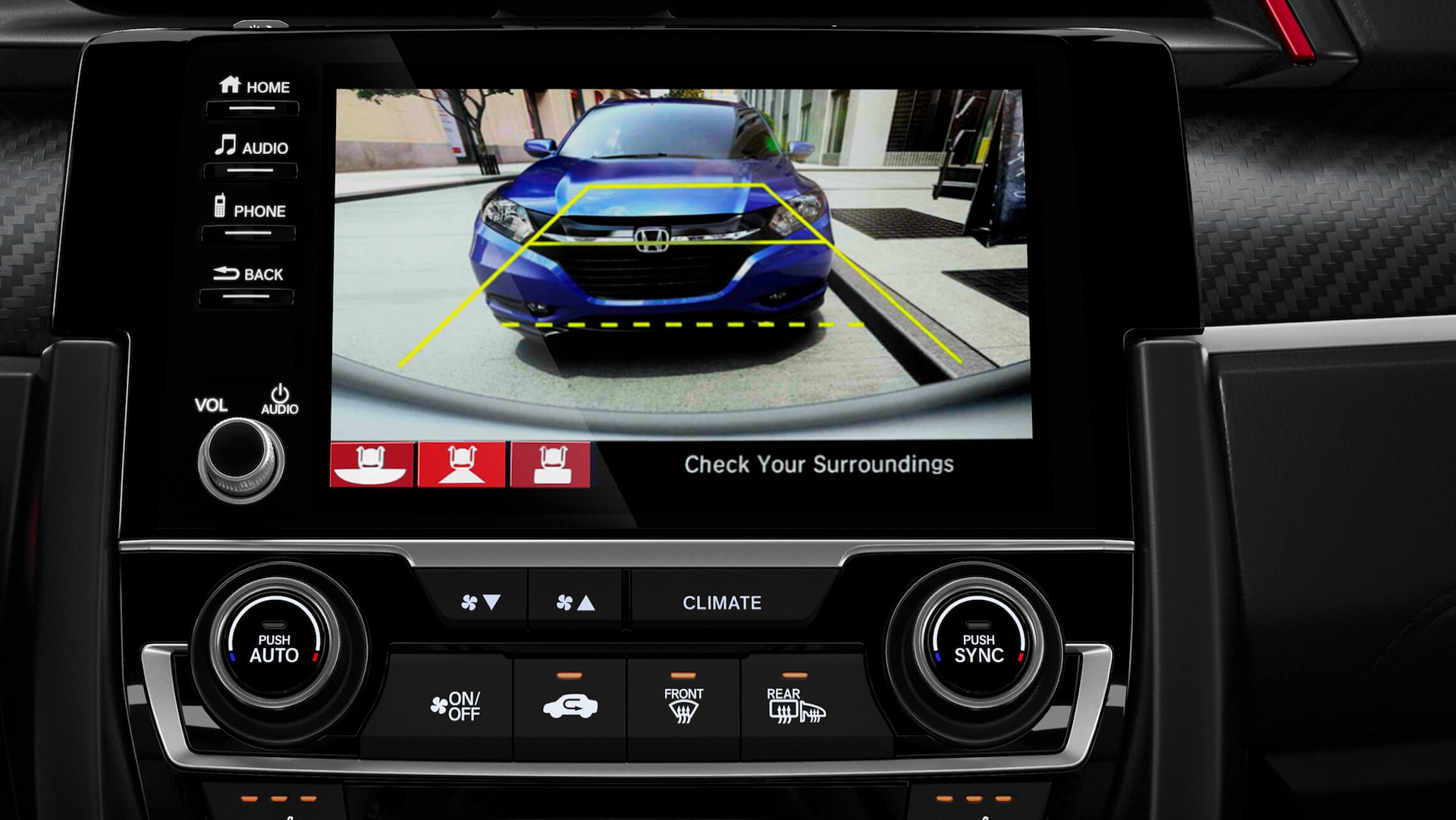 Rearview camera detail on 7-inch display screen in 2020 Honda Civic Si Sedan.