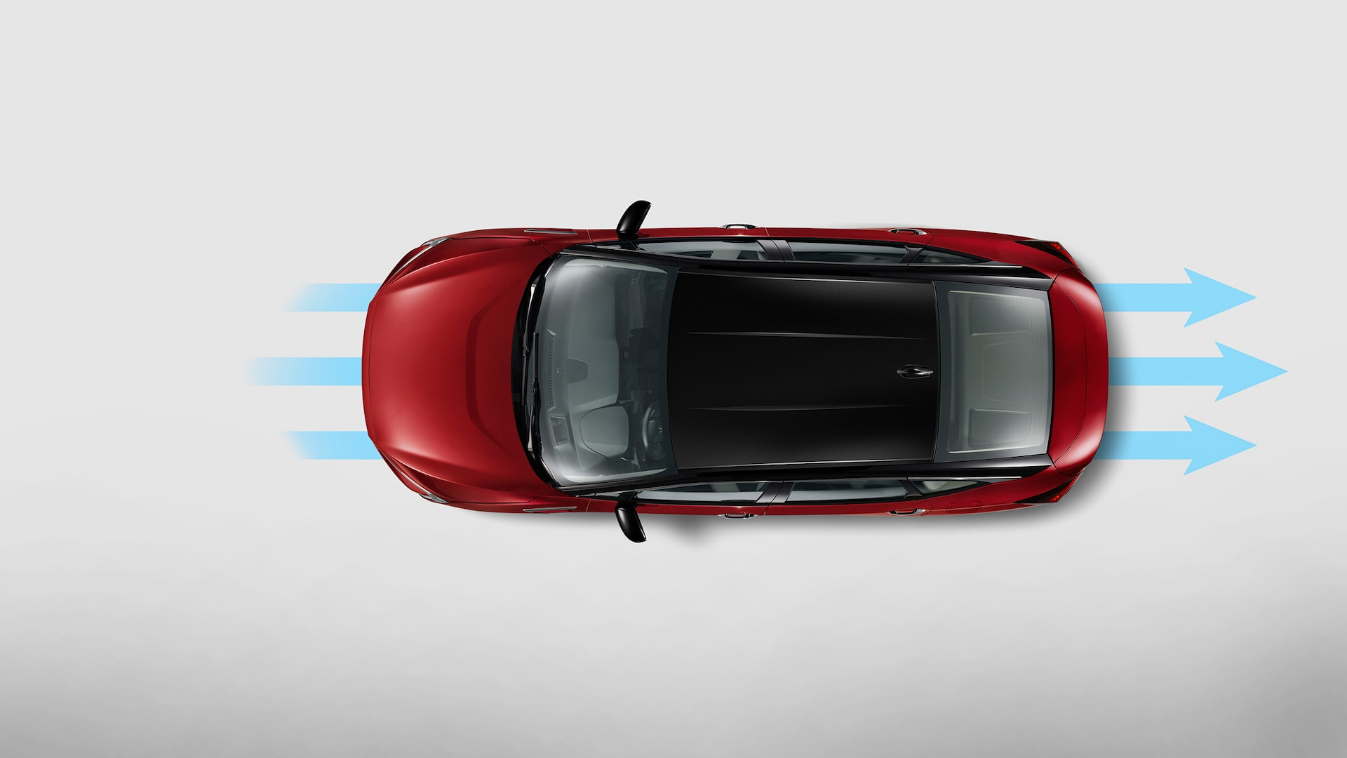 Aerodynamic airflow illustration for top view of 2020 Honda Clarity Fuel Cell in Crimson Pearl.