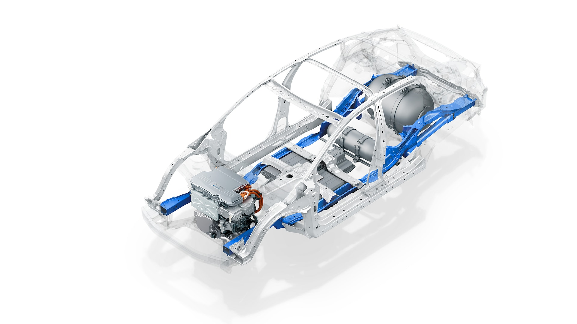 Chassis and subframe of 2020 Honda Clarity Fuel Cell.