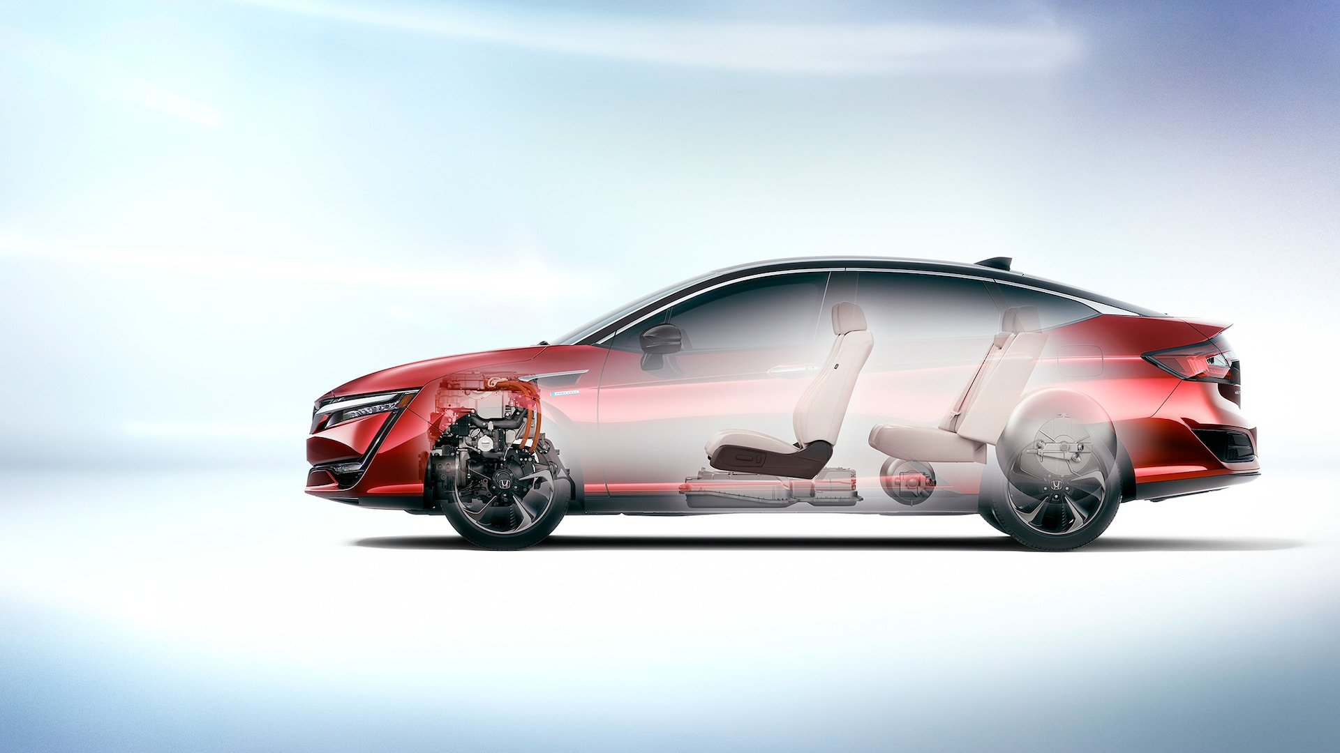Side-profile view of the 2020 Honda Clarity Fuel Cell in Crimson Pearl with a transparent illustrated interior.