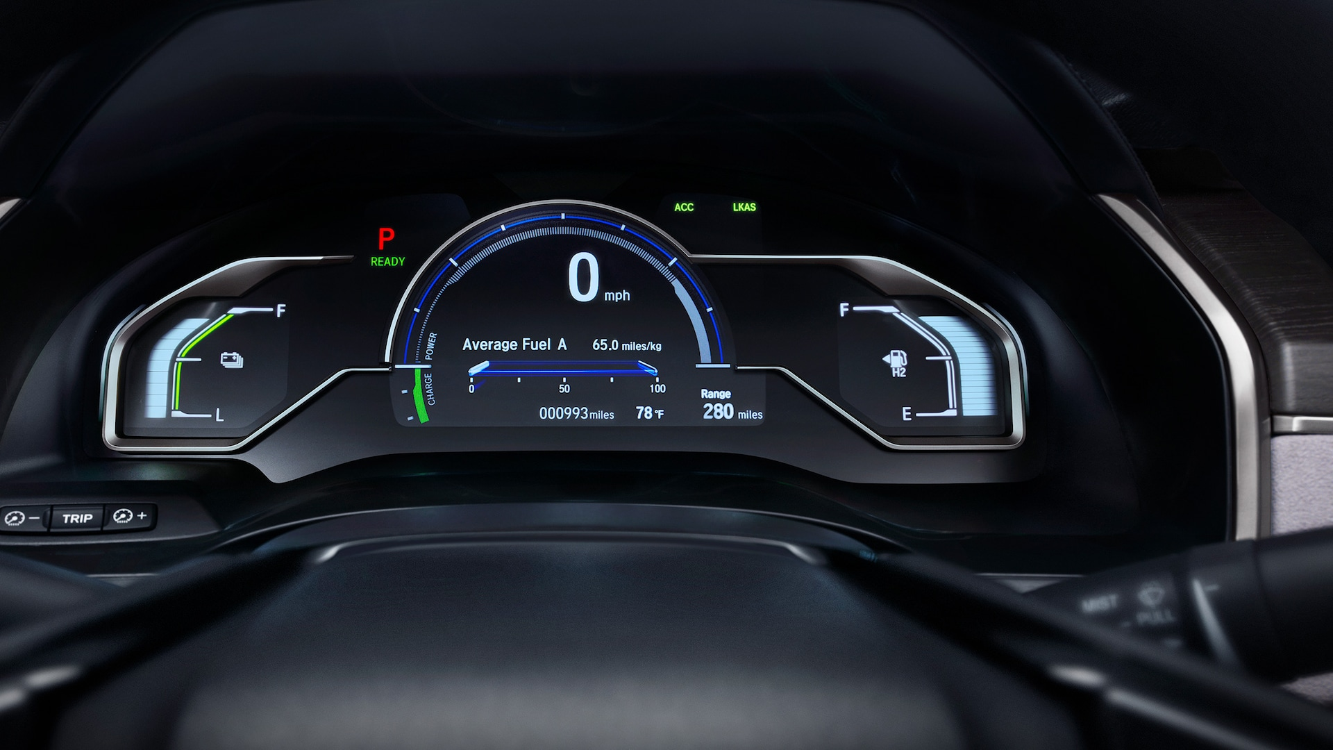 Detail of digital advanced driver interface with 3-D sphere fuel-cell power monitor for 2020 Honda Clarity Fuel Cell.