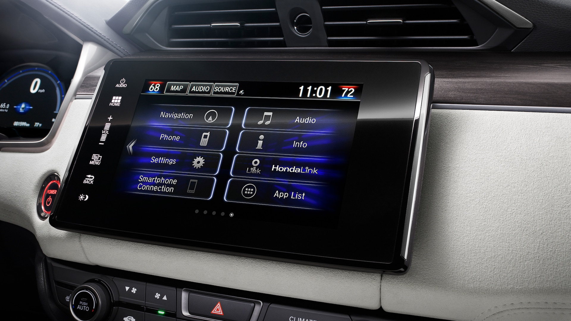 Detail of Display Audio touch-screen on 2020 Honda Clarity Fuel Cell.