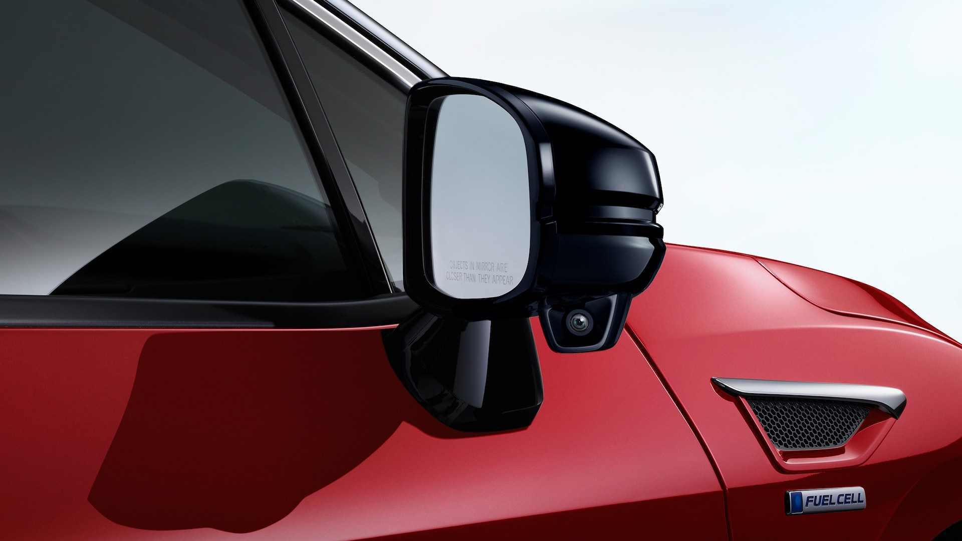 Detail of passenger-side mirror camera for Honda LaneWatch™ on 2020 Honda Clarity Fuel Cell.