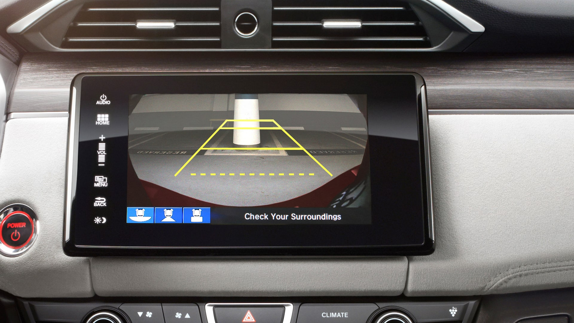 Detail of multi-angle rearview camera view for Display Audio touch-screen on 2020 Honda Clarity Fuel Cell.
