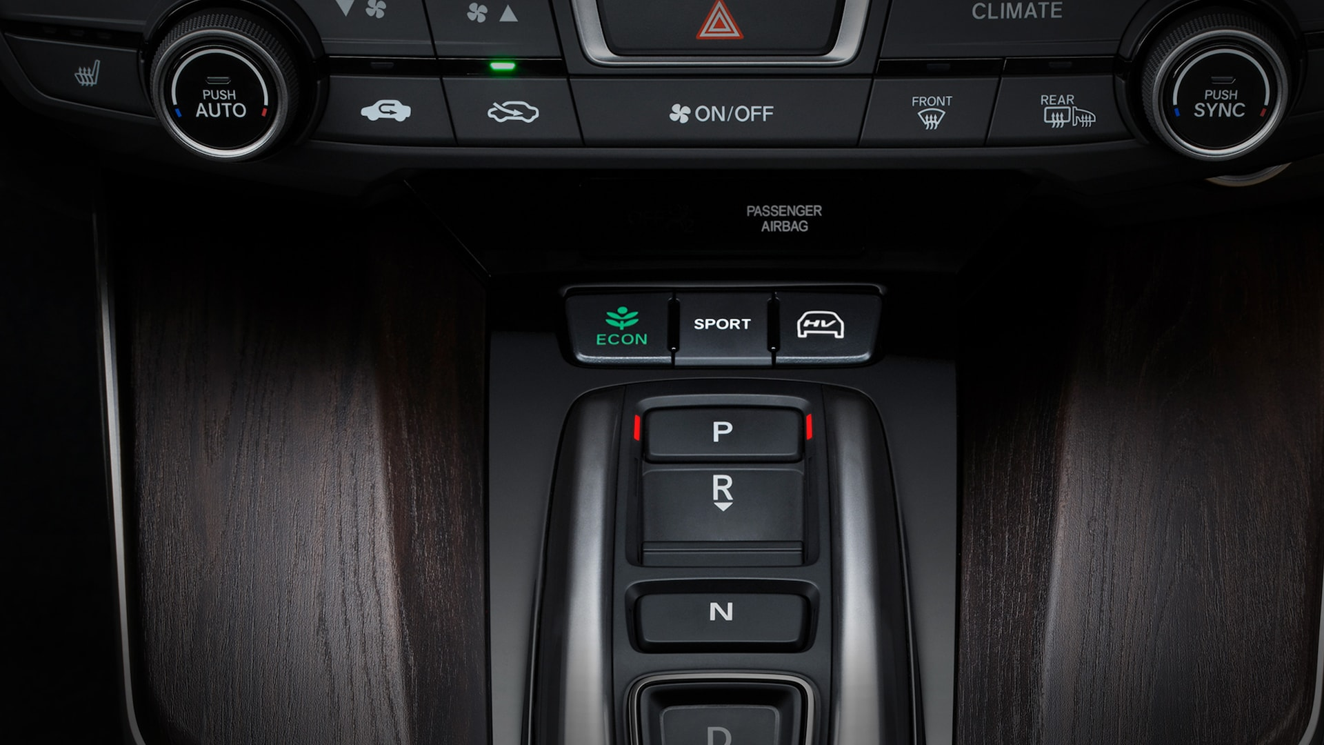 Detail of Shift-By-Wire in 2020 Clarity Plug-In Hybrid.