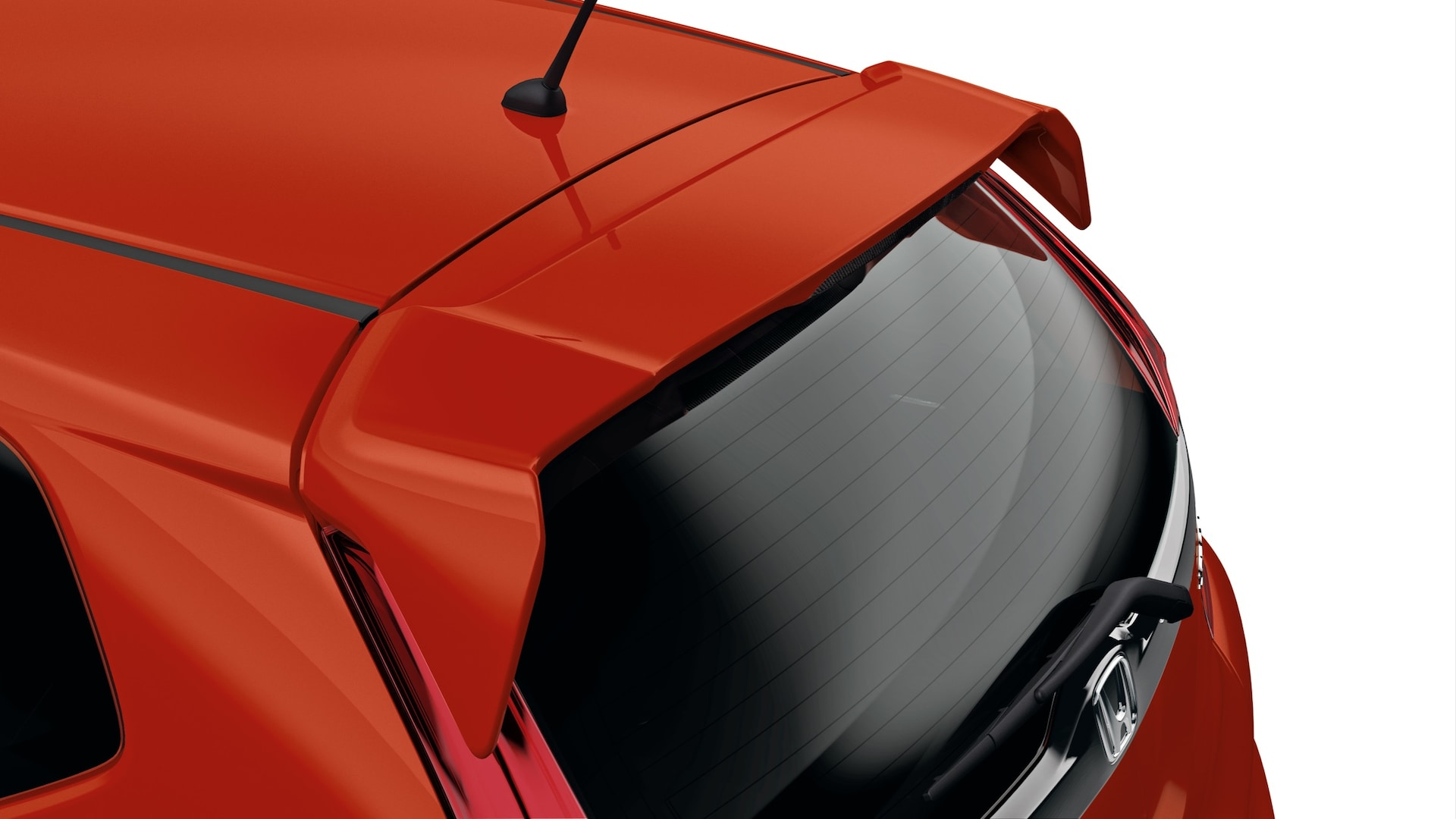 Tailgate spoiler detail on the 2020 Honda Fit in Milano Red.