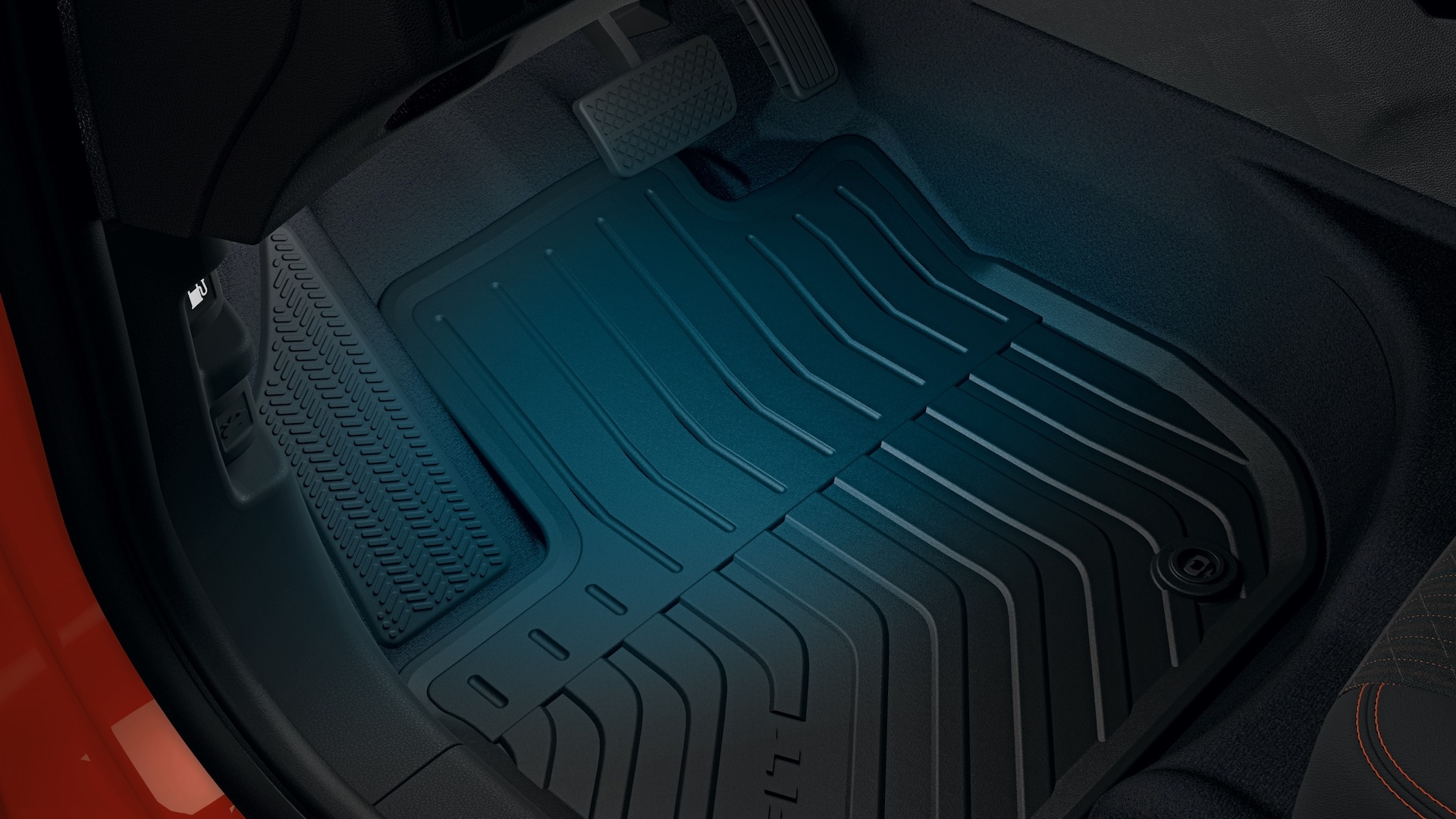 Interior view of blue LED illuminated footwell detail on the 2020 Honda Fit.