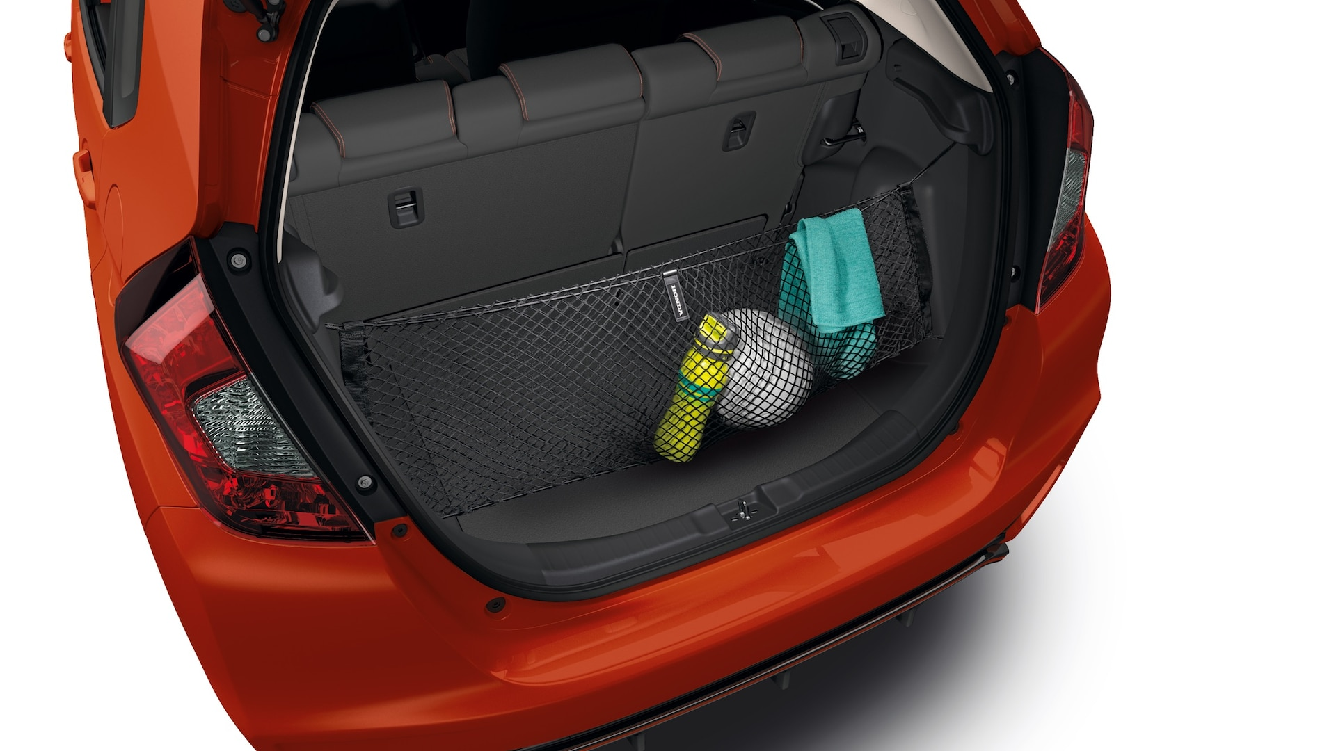 Rear interior view of cargo net detail on the 2020 Honda Fit.