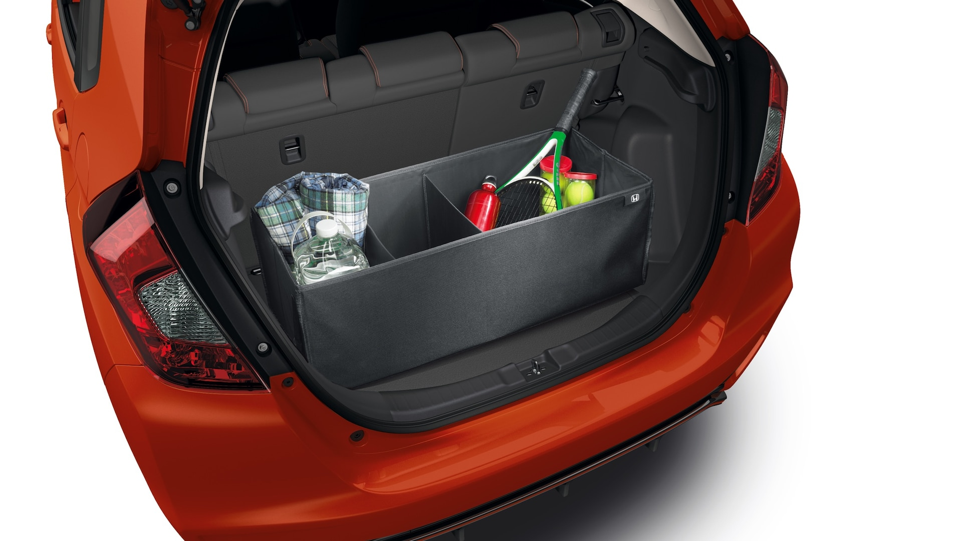 Rear interior view of cargo organizer detail on the 2020 Honda Fit.