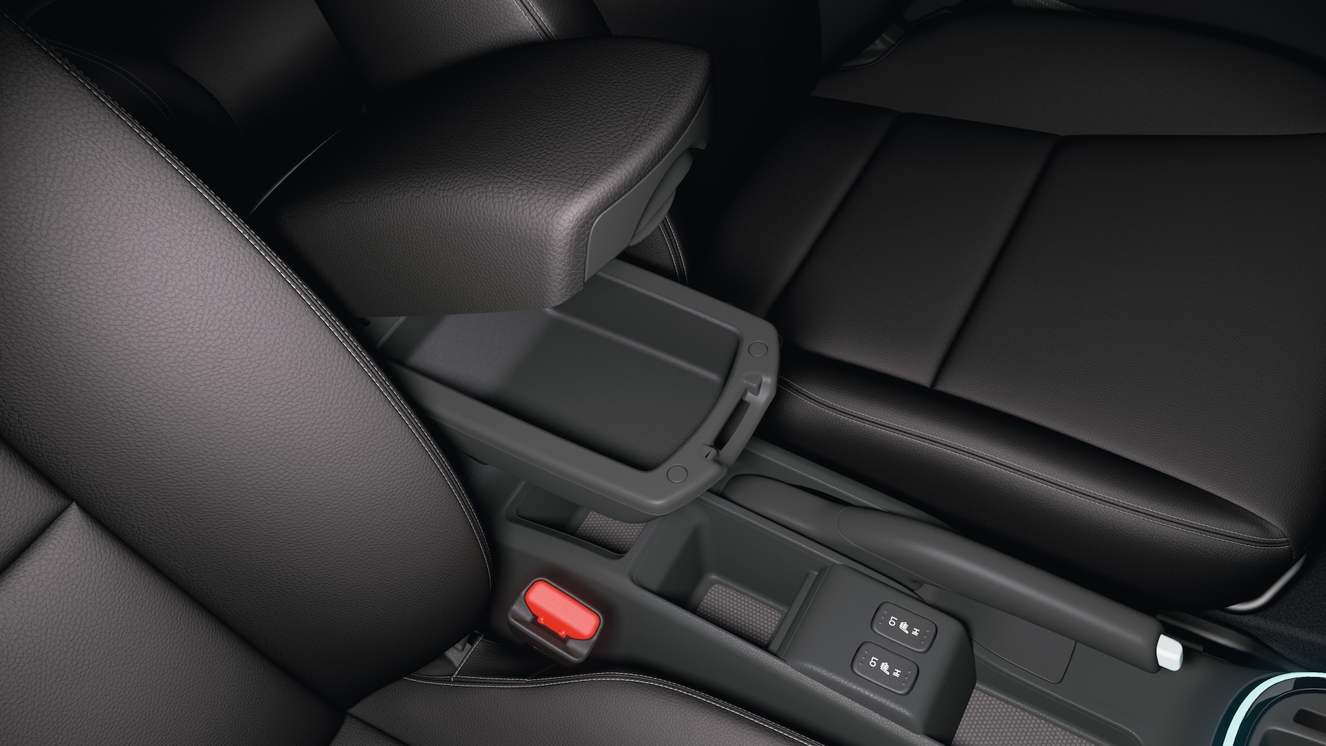 Interior view of armrest compartment detail on the 2020 Honda Fit.
