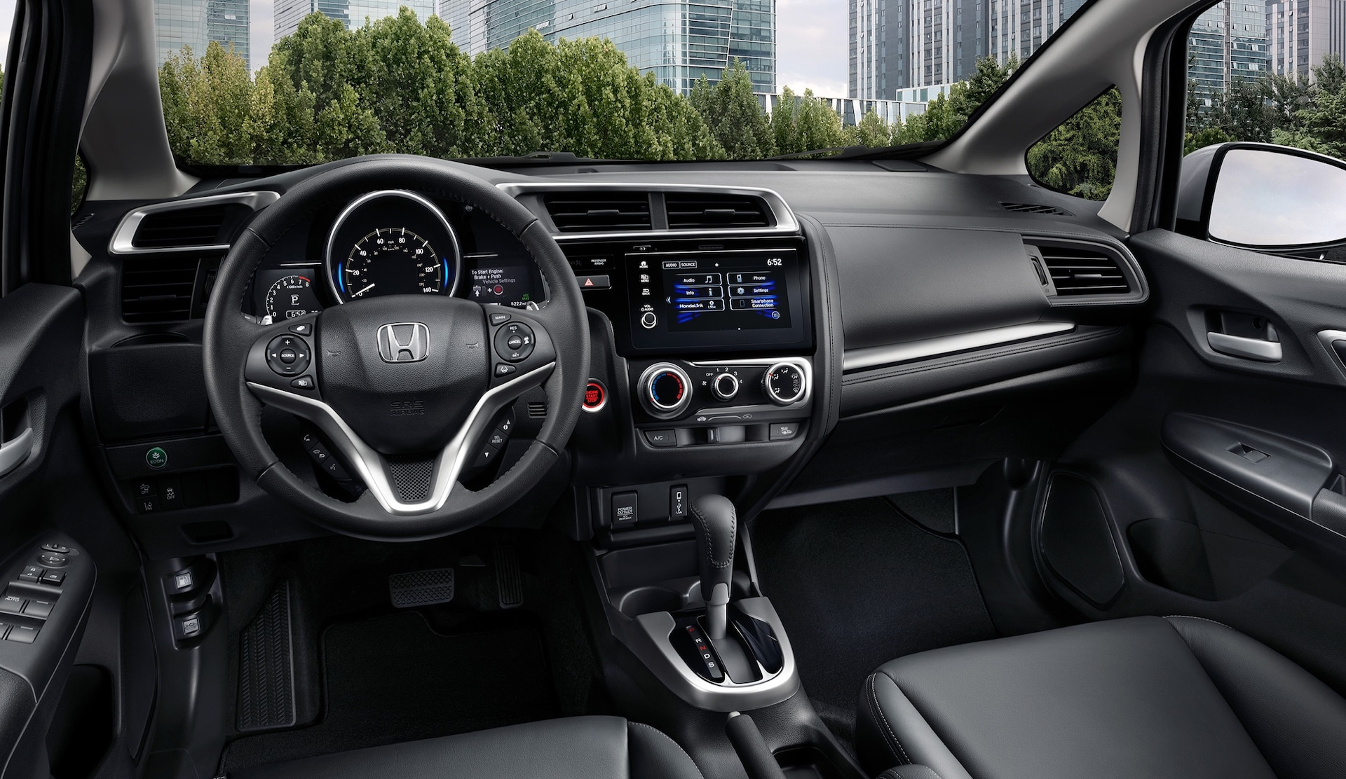 Interior view of the 2020 Honda Fit EX-L in Black Leather.