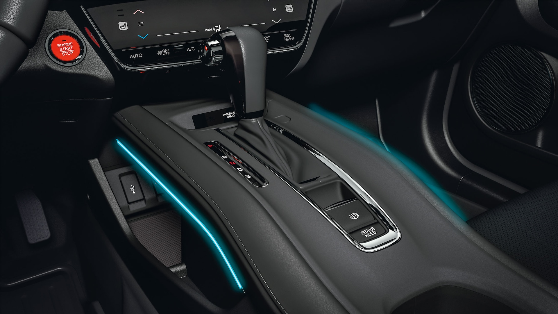 Illuminated center console detail in the 2020 Honda HR-V.
