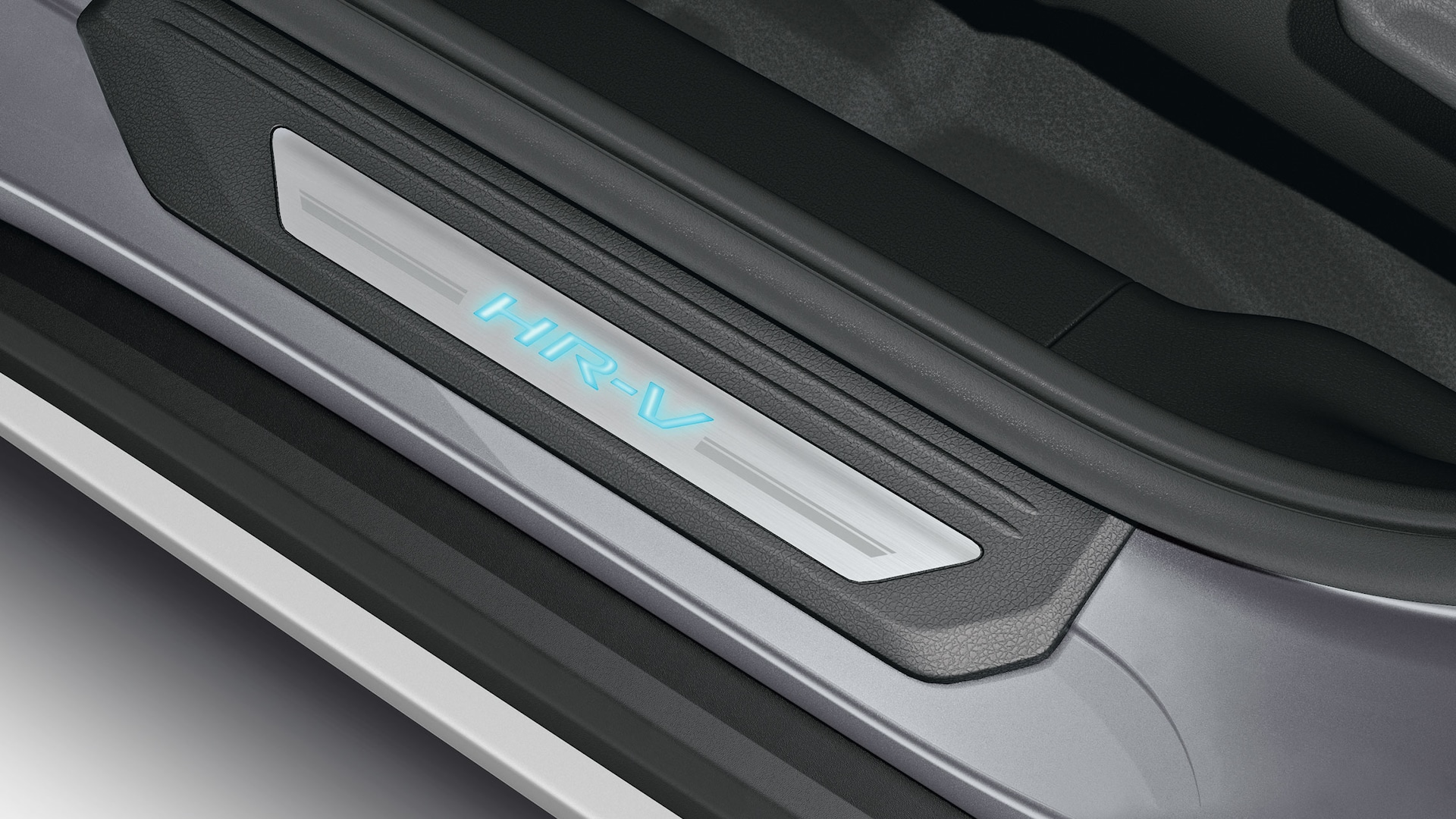 Illuminated door sill trim detail on the 2020 Honda HR-V.