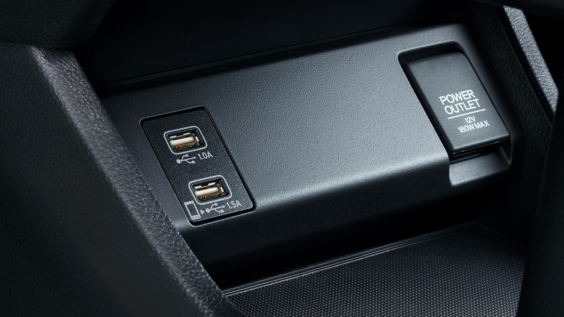 USB port detail in the 2020 Honda HR-V Touring with Black Leather.