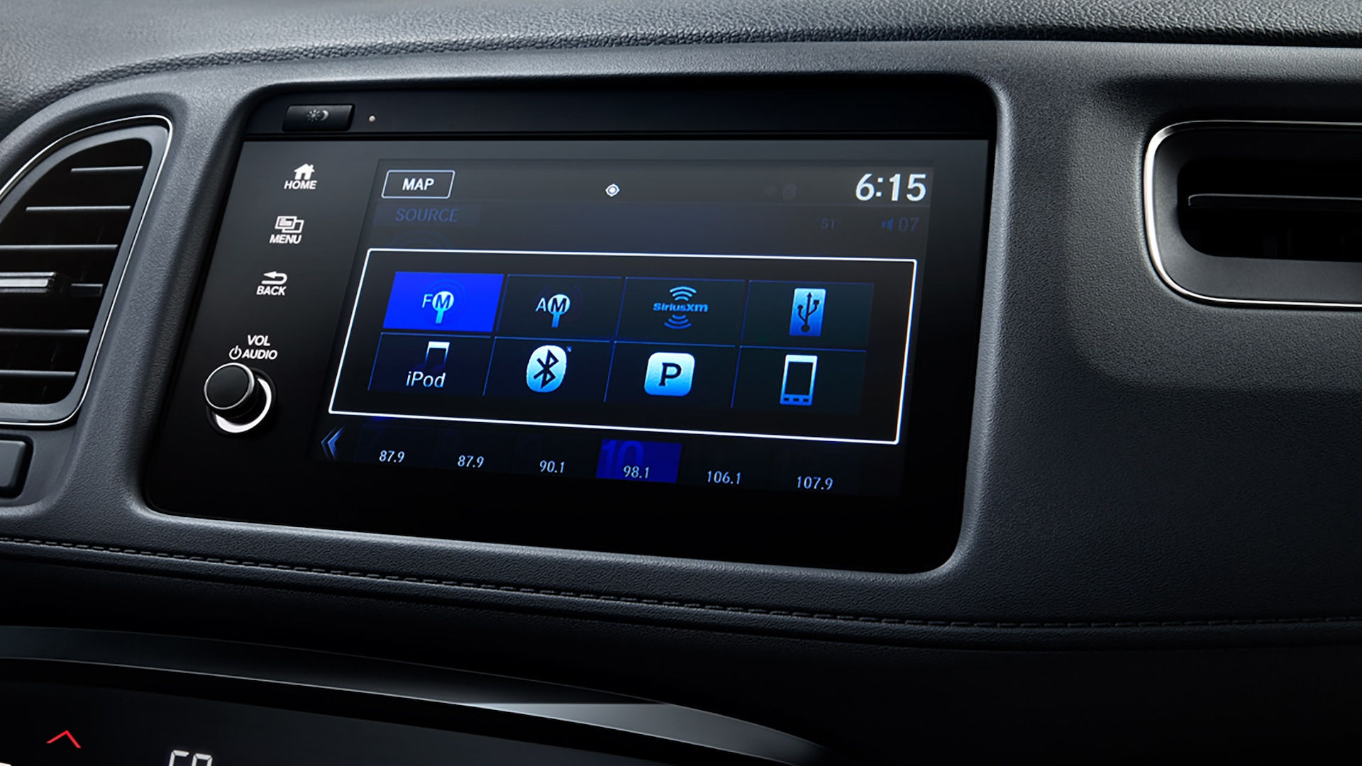 7-inch Display Audio system screen detail on the 2020 Honda HR-V Touring.