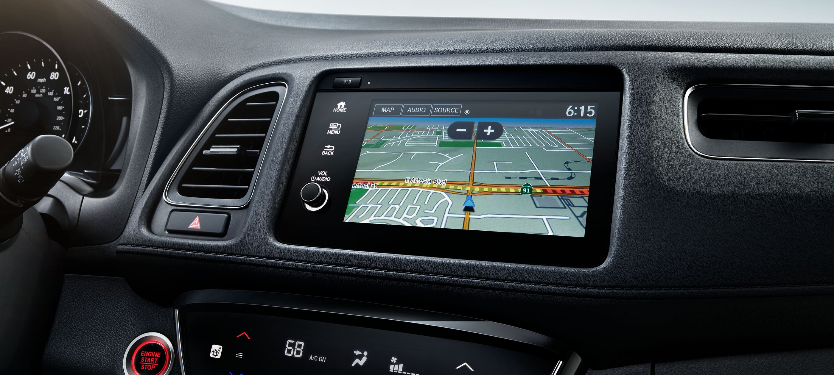 Honda Satellite-Linked Navigation System™ detail on Display Audio touch-screen in the 2020 Honda HR-V Touring with Black Leather.