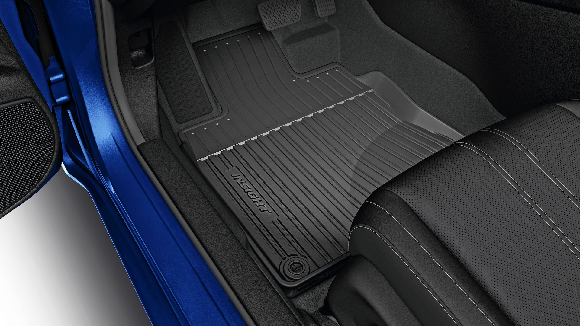All season floor mat detail on 2020 Honda Insight in Aegean Blue Metallic.