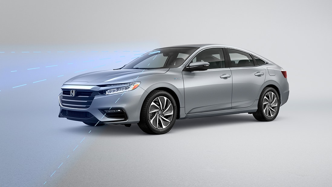 Illustrated demonstration of Honda Sensing® on 2020 Honda Insight Touring in Lunar Silver Metallic.