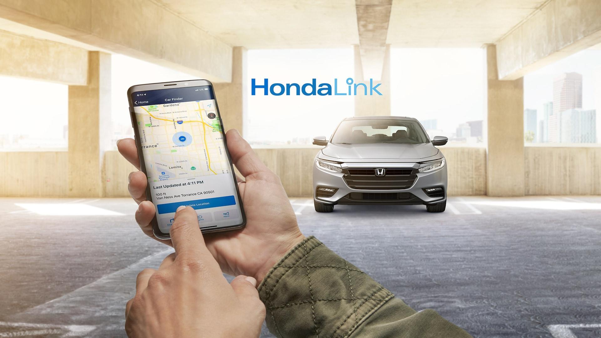 Detalle de la pantalla de bienvenida de HondaLink® en un teléfono inteligente.