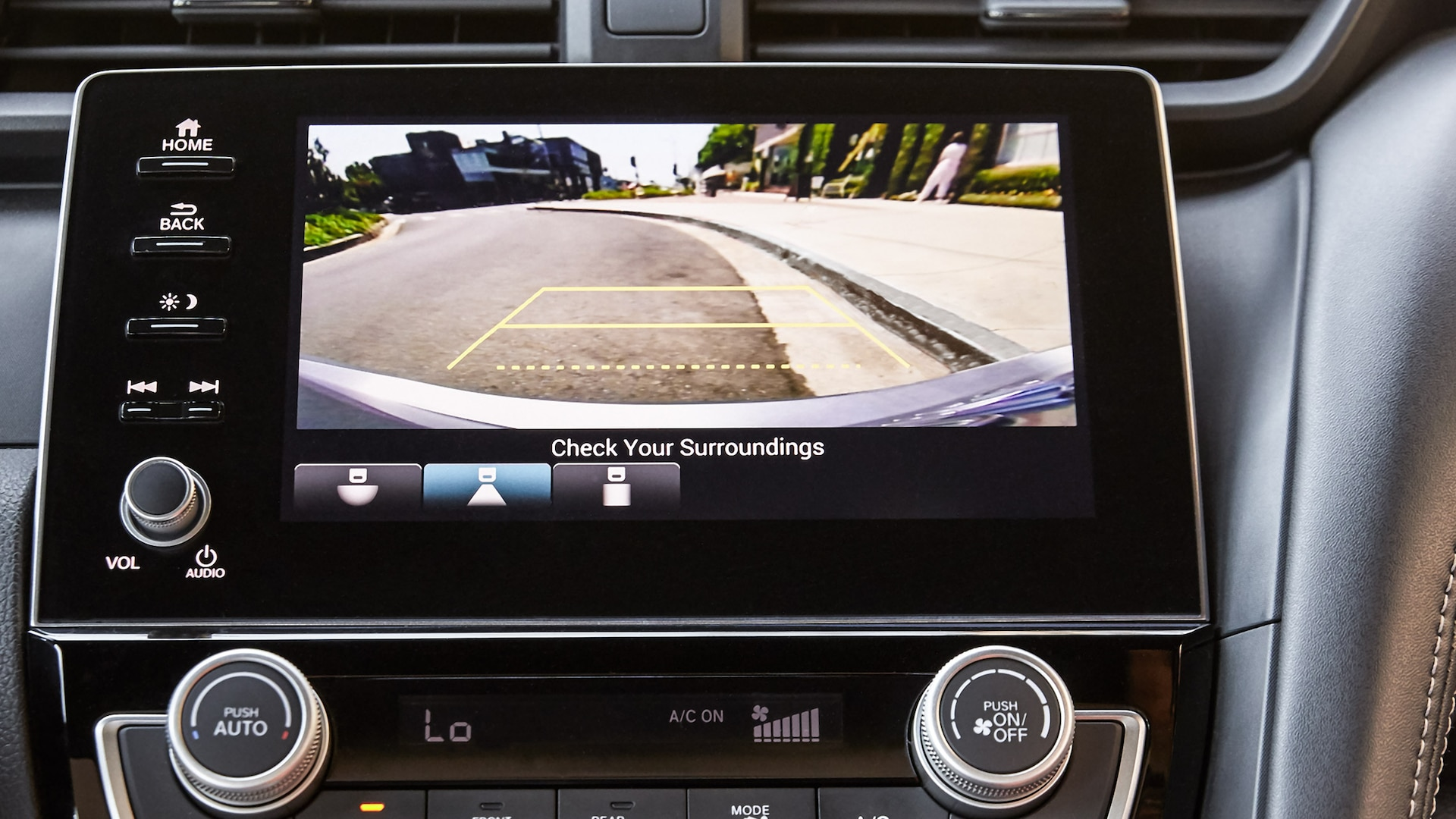 Backup camera detail on Digital Audio touch-screen on 2020 Honda Insight.