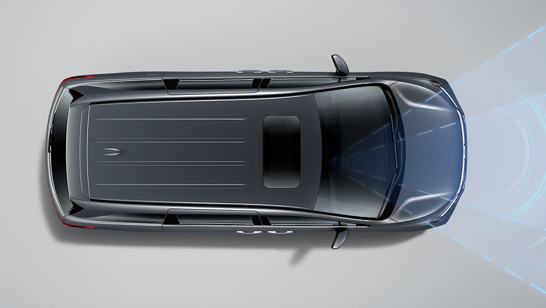 Overhead view of 2020 Honda Odyssey Elite in Modern Steel Metallic demonstrating Lane Keeping Assist System (LKAS).