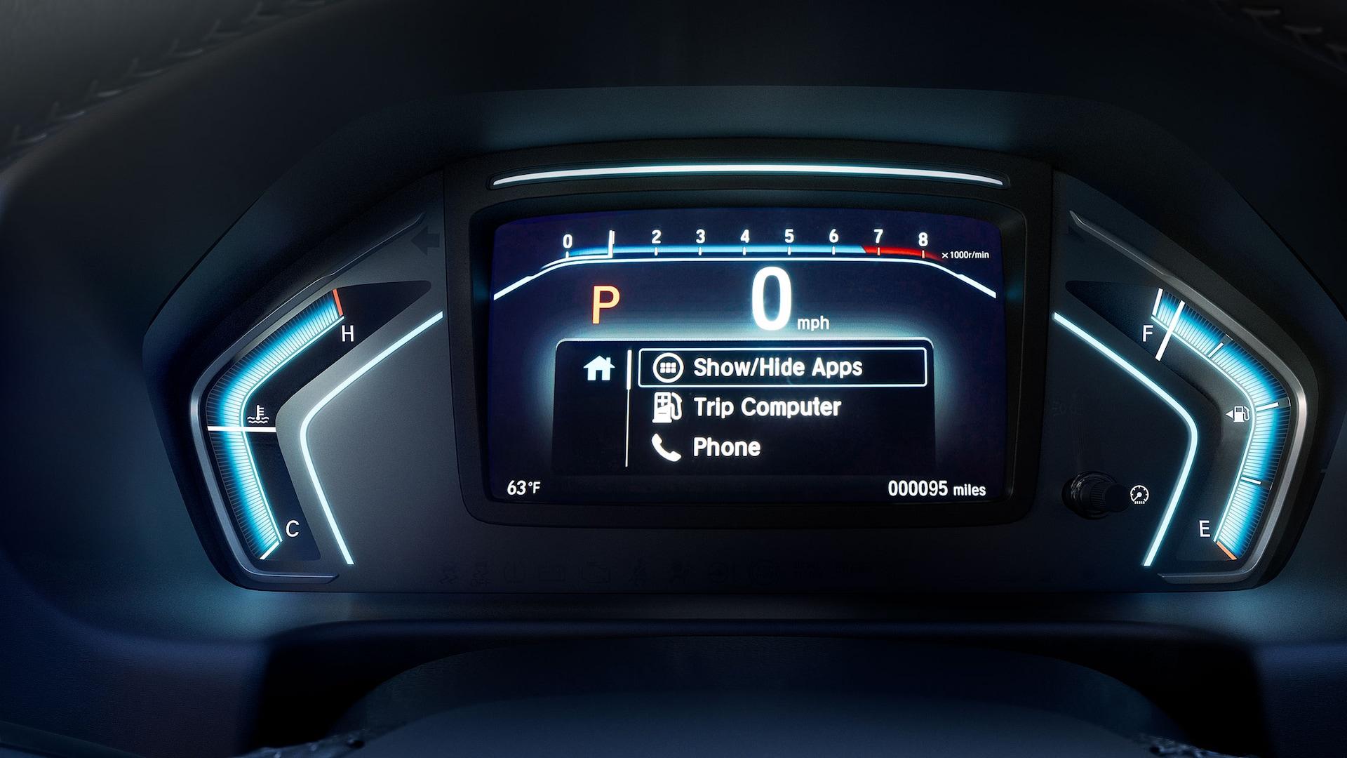 Detalle de la interfaz de información digital para el conductor en la Honda Odyssey Elite2020.