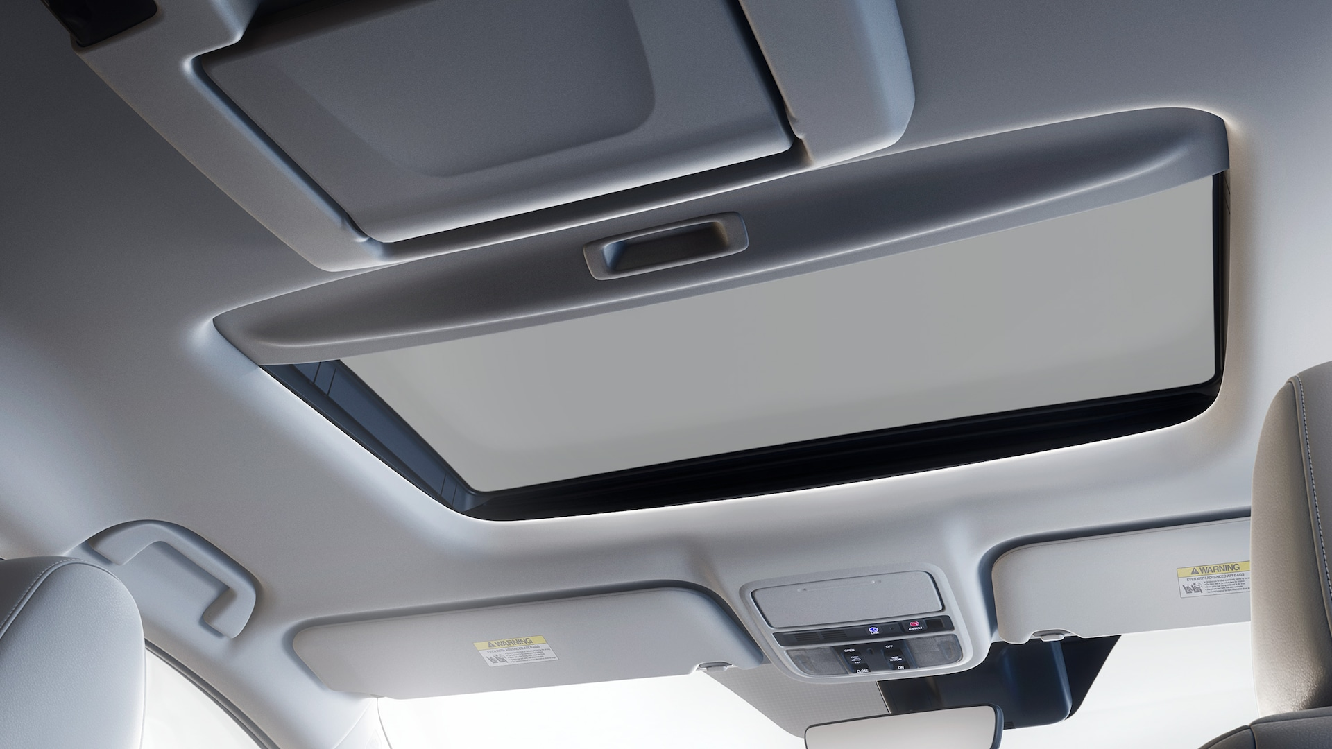 Power moonroof detail on 2020 Honda Odyssey Elite with Gray Leather.