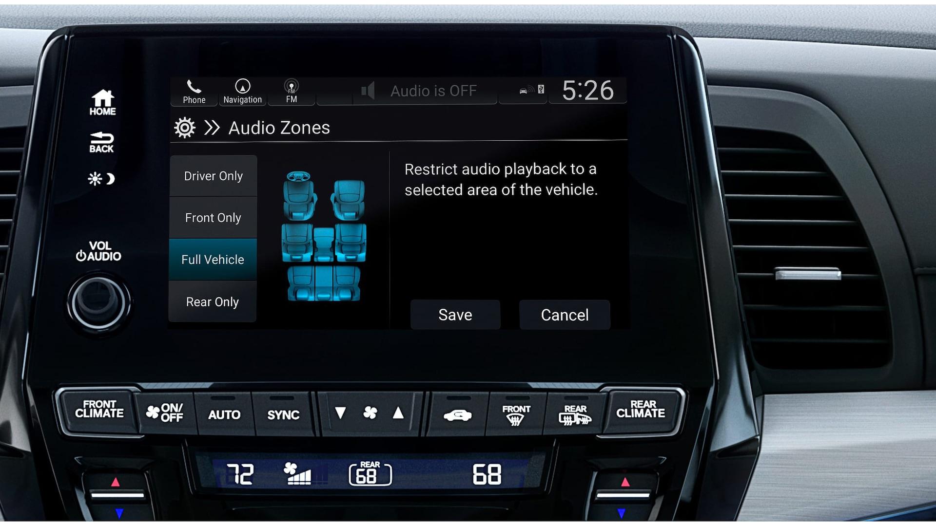 Detalle de audio multi-zone en la pantalla táctil del sistema de audio en la Honda Odyssey Elite 2020 con Gray Leather.