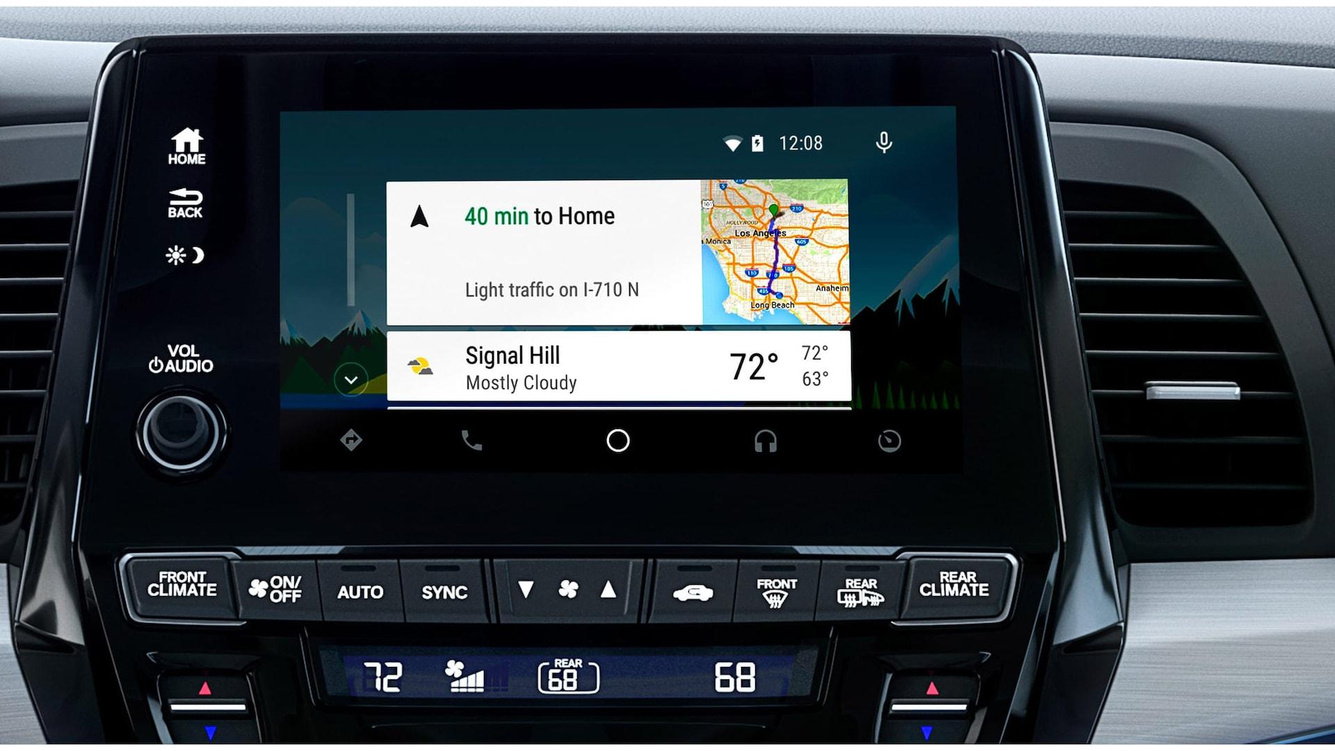 Detalle de Android Auto™ en la pantalla táctil del sistema de audio en la Honda Odyssey Elite2020 con Gray Leather.